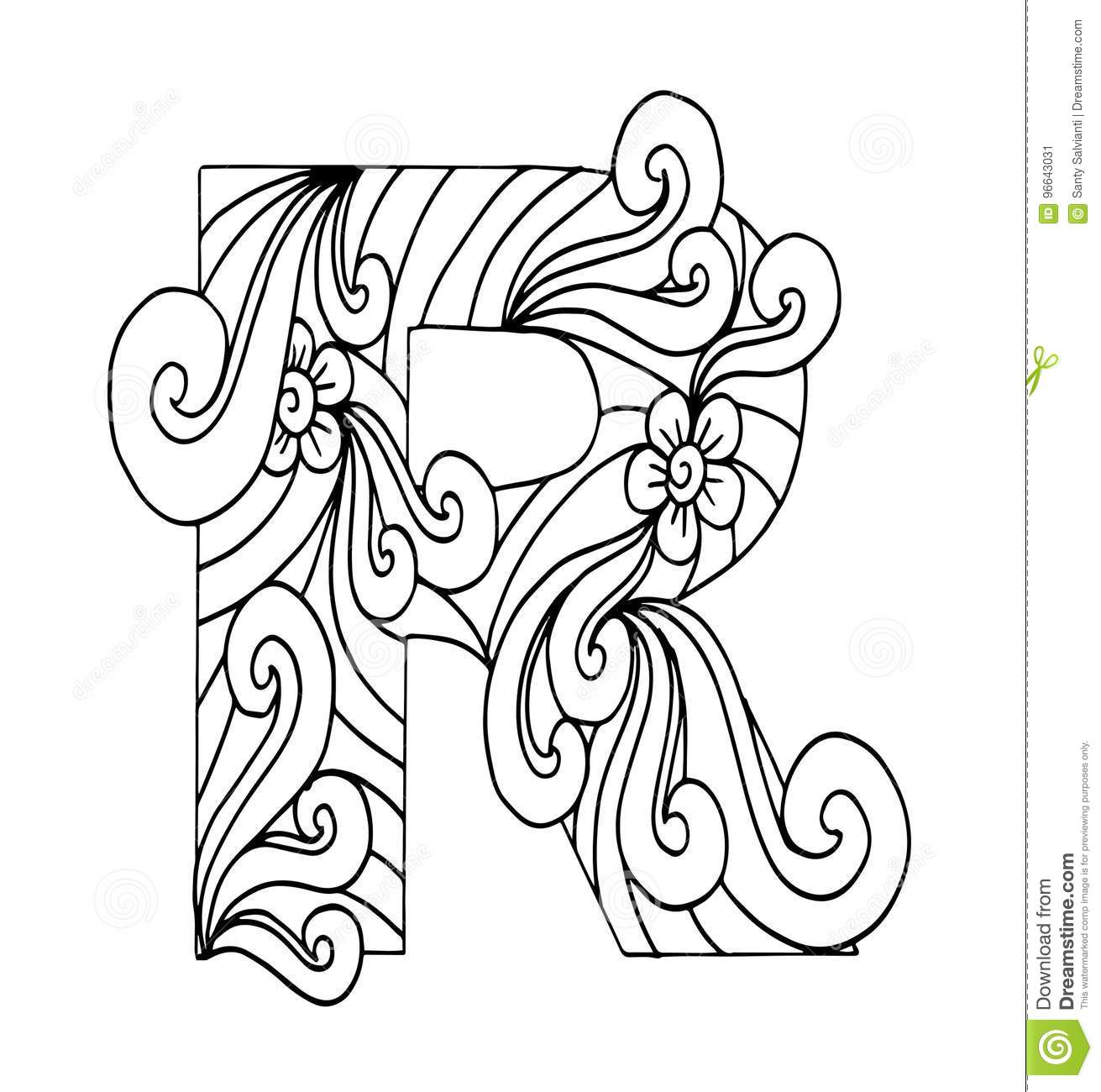 Zentangle Stylized Alphabet  Letter R In Doodle Style Stock