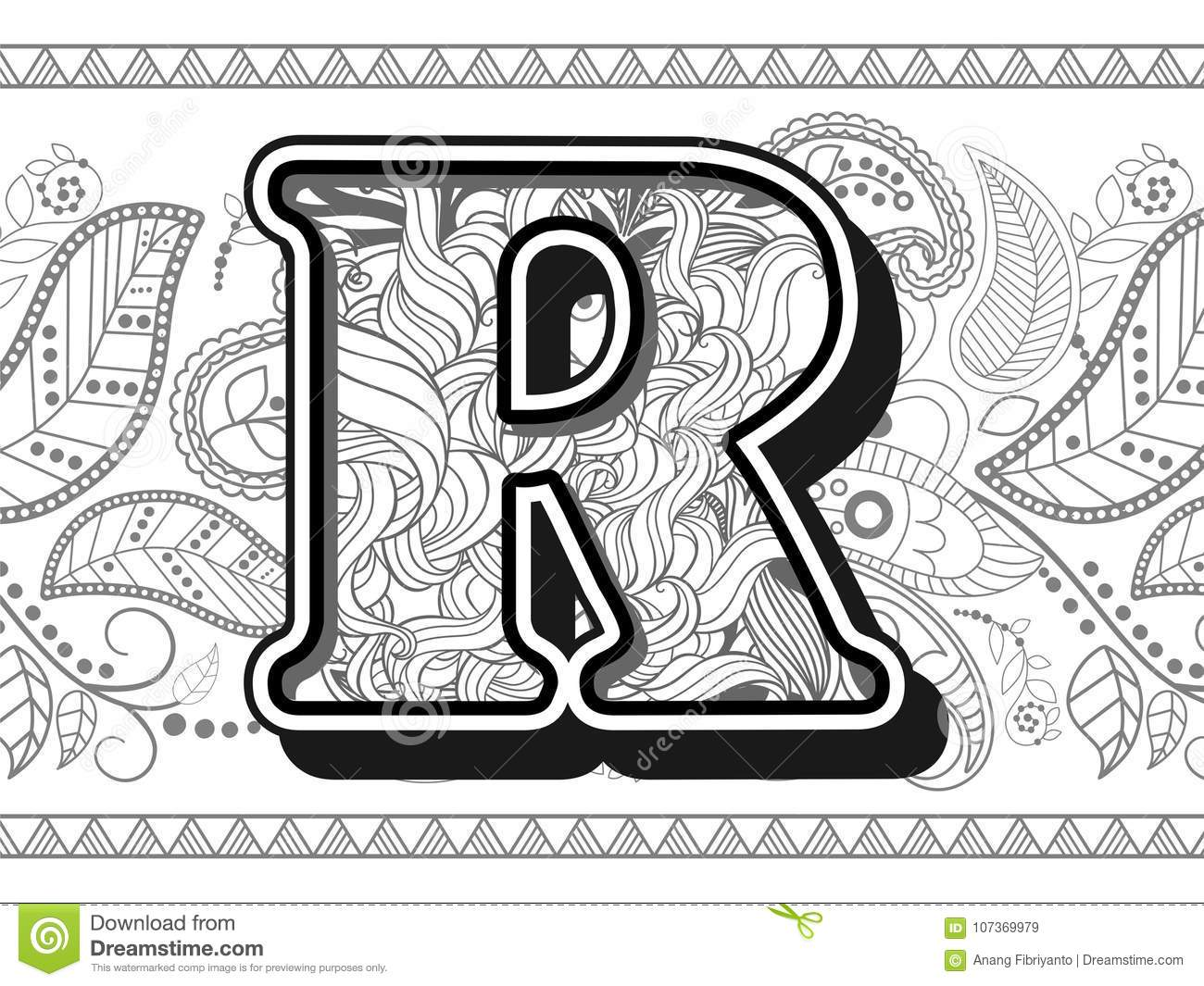Royalty Free Vector Zentangle Stylized Alphabet Letter R Handrawn Alphabetical Doodles In Download Preview