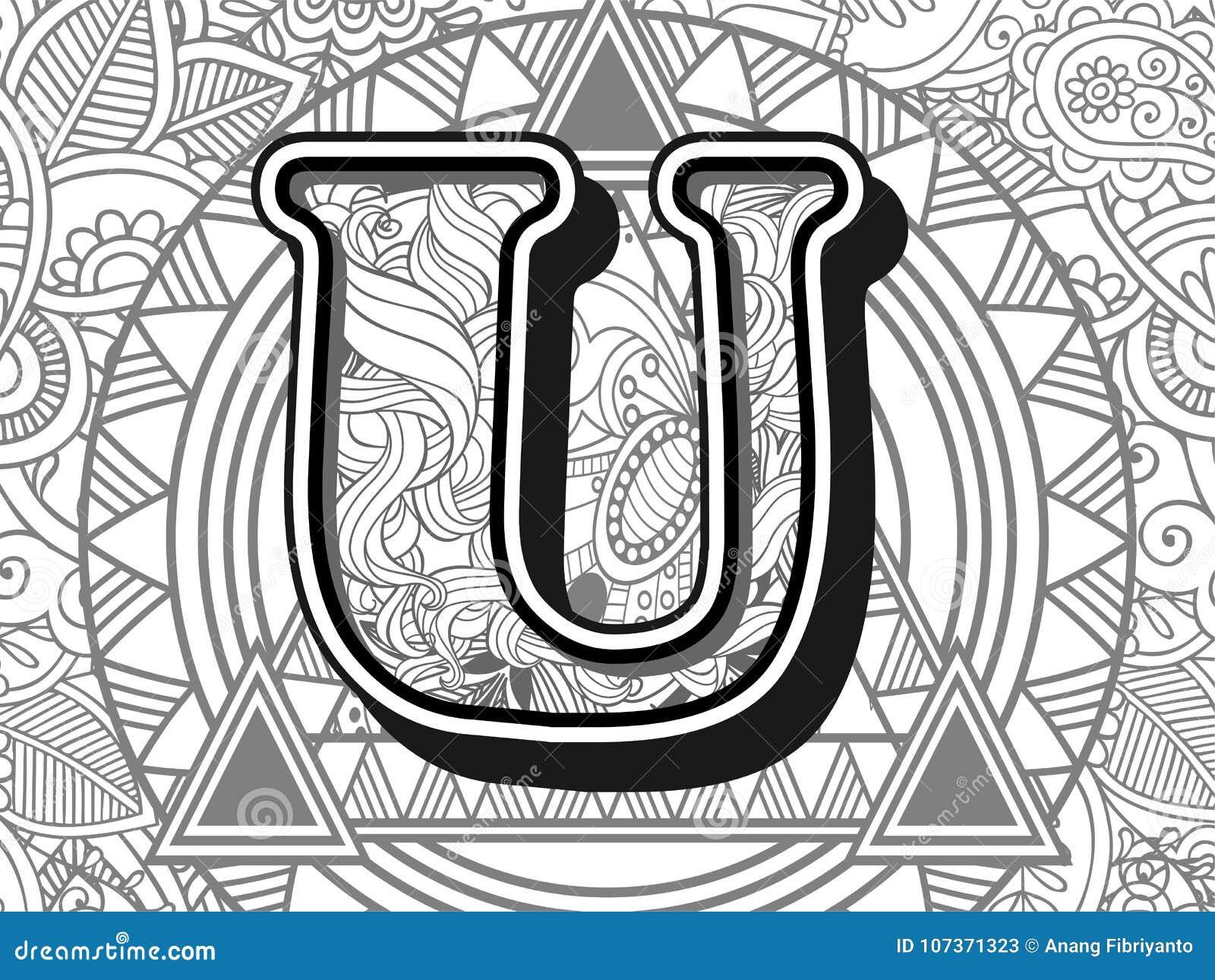 zentangle stylized alphabet letter u. black and white hand drawn