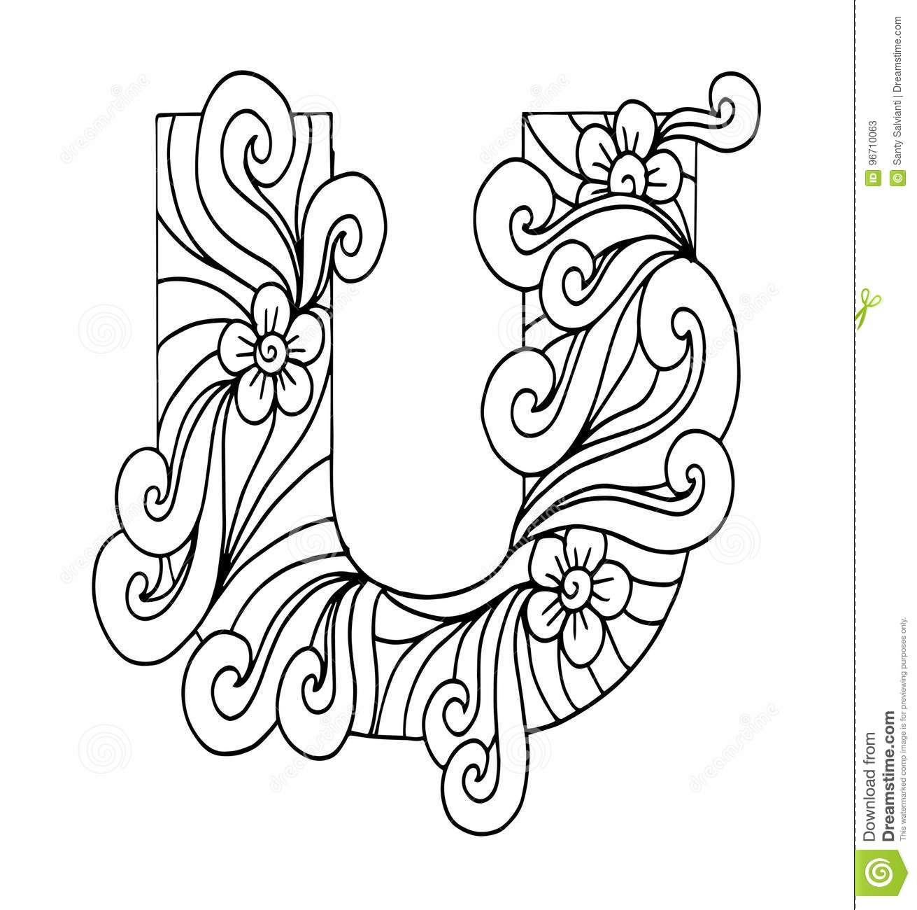 zentangle coloring pages letter n | Zentangle Stylized Alphabet. Letter U In Doodle Style ...