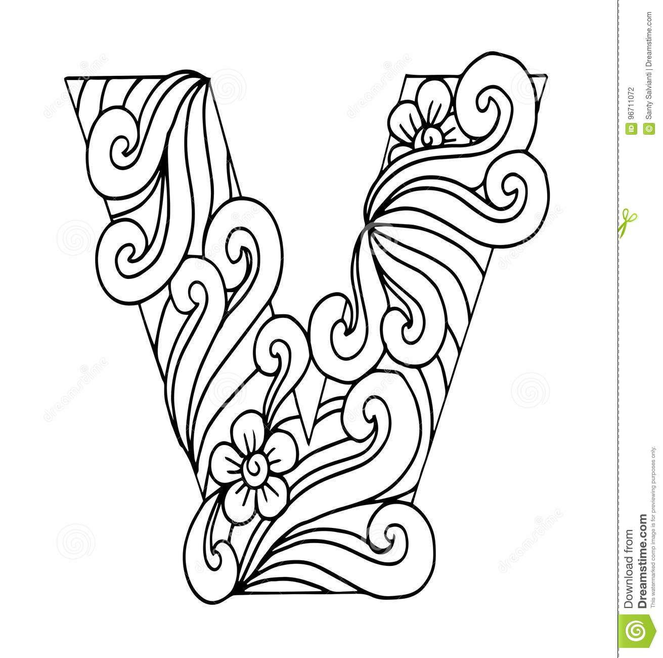 Zentangle Stylized Alphabet Letter V In Doodle Style Hand Drawn