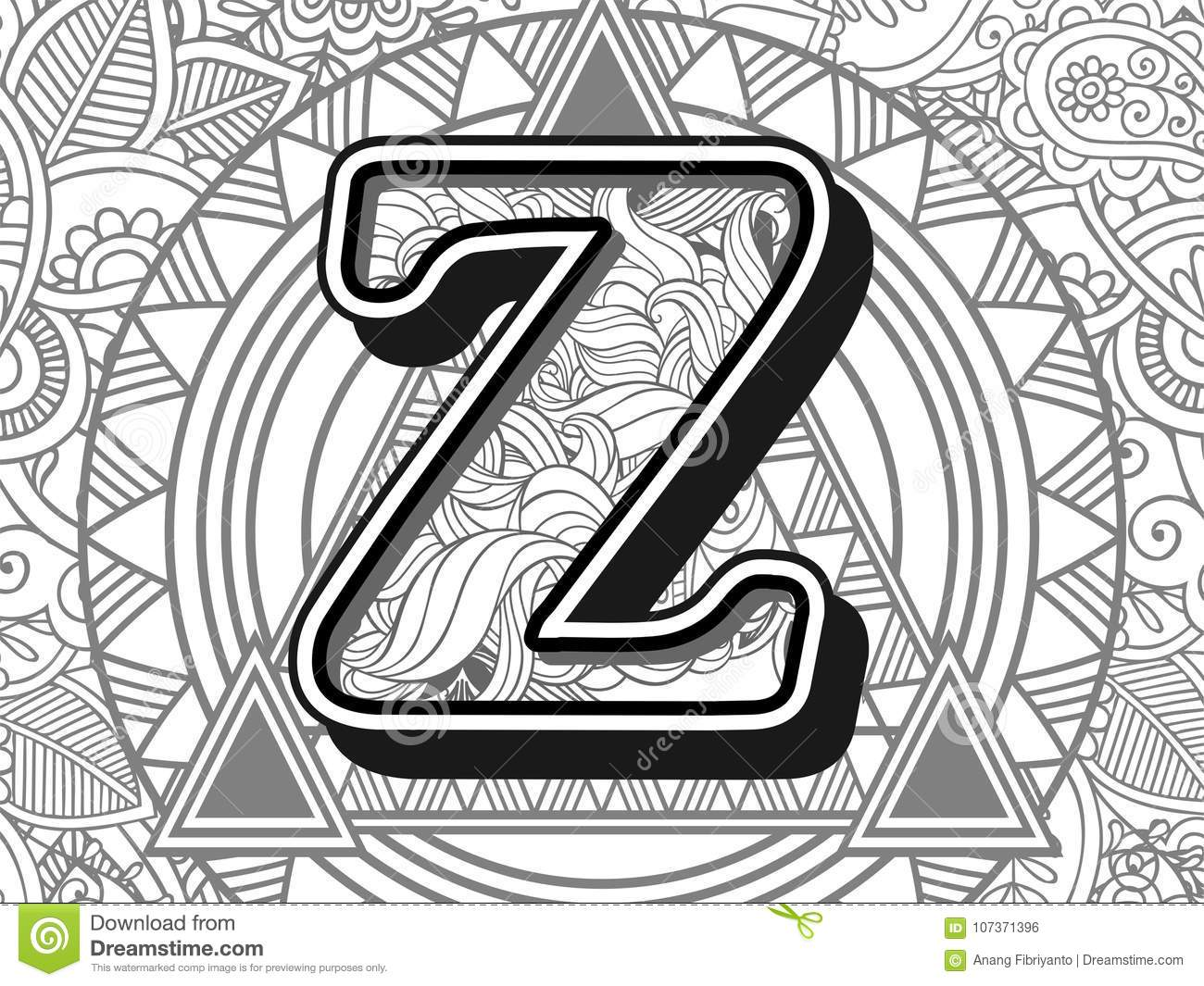 Zentangle Stylized Alphabet Letter Z Black And White Hand Drawn