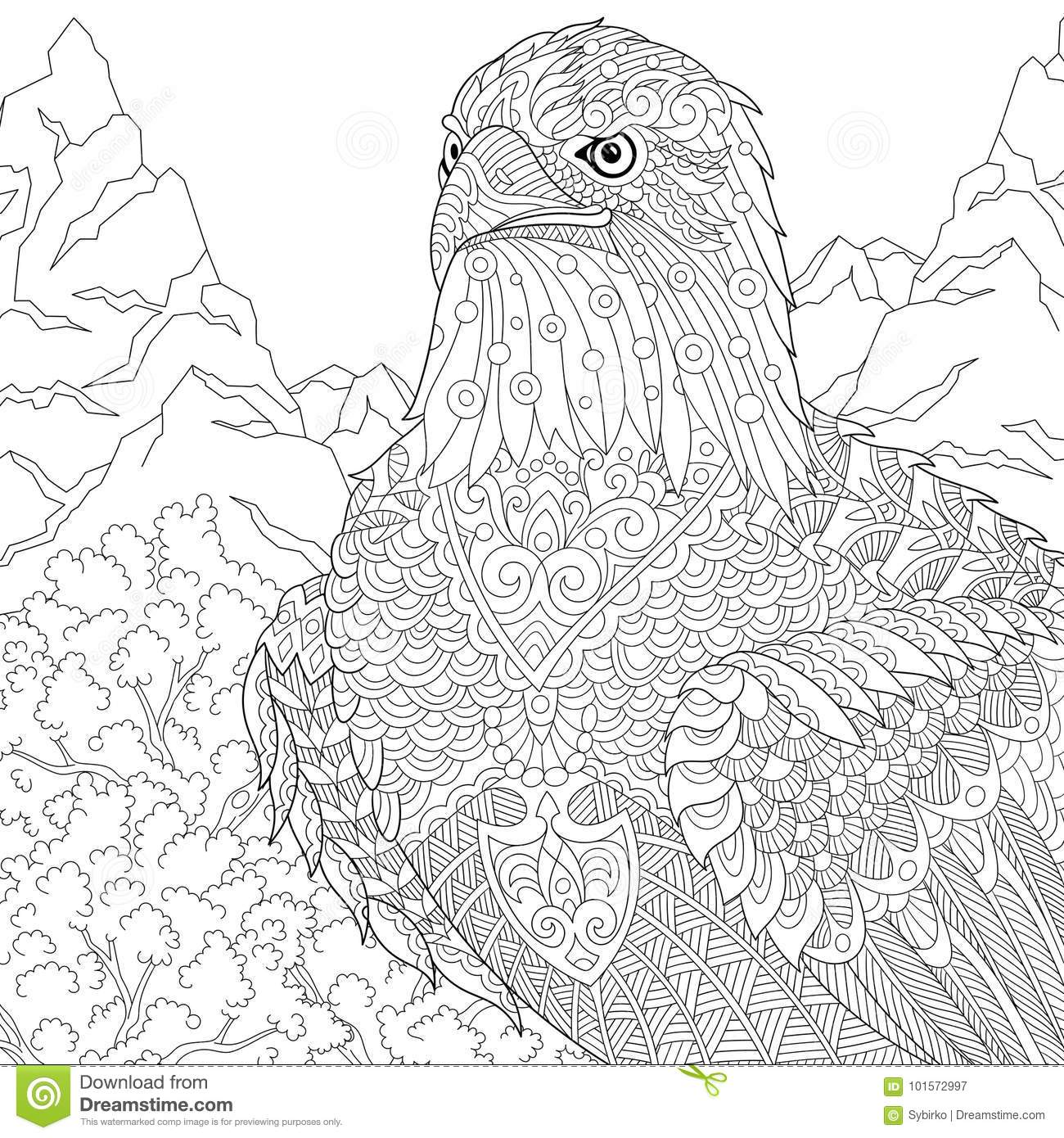 Zentangle Stylized American Eagle Mascot Stock Vector - Illustration ...