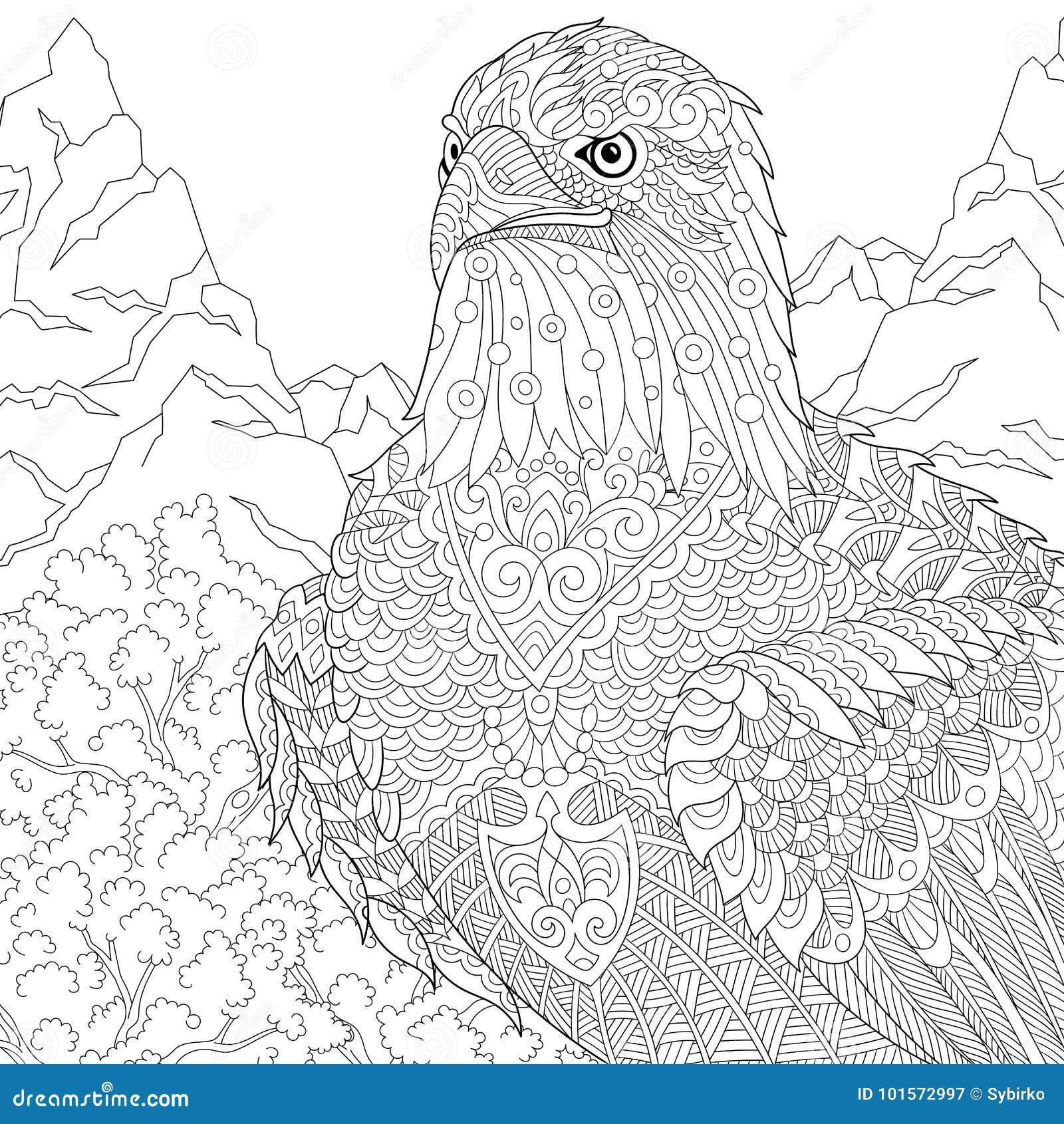 Download Zentangle Stylized American Eagle Mascot Stock Vector