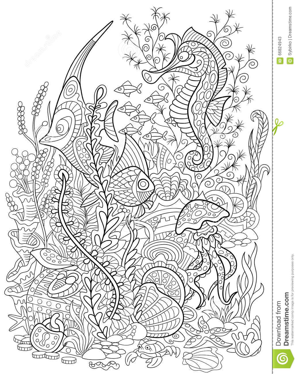 Zentangle Stylized Animal Set Sea Collection Ocean Life