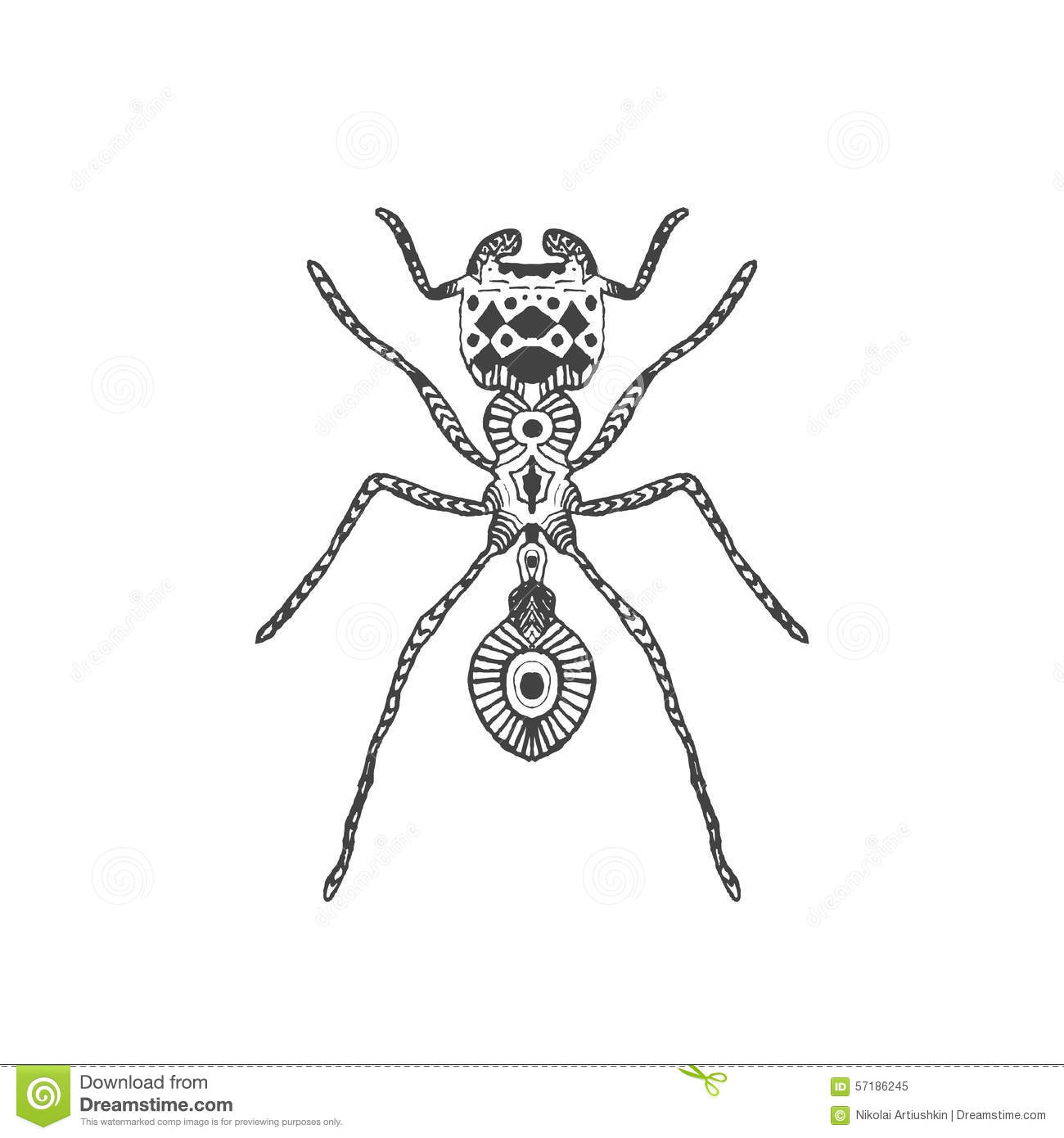 Zentangle Stylized Ant Stock Vector Image 57186245