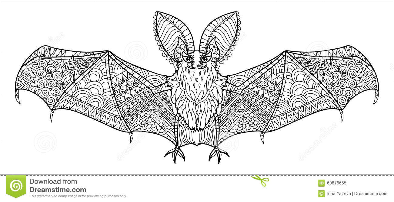 Zentangle Stylized Bat Stock Vector Image 60876655