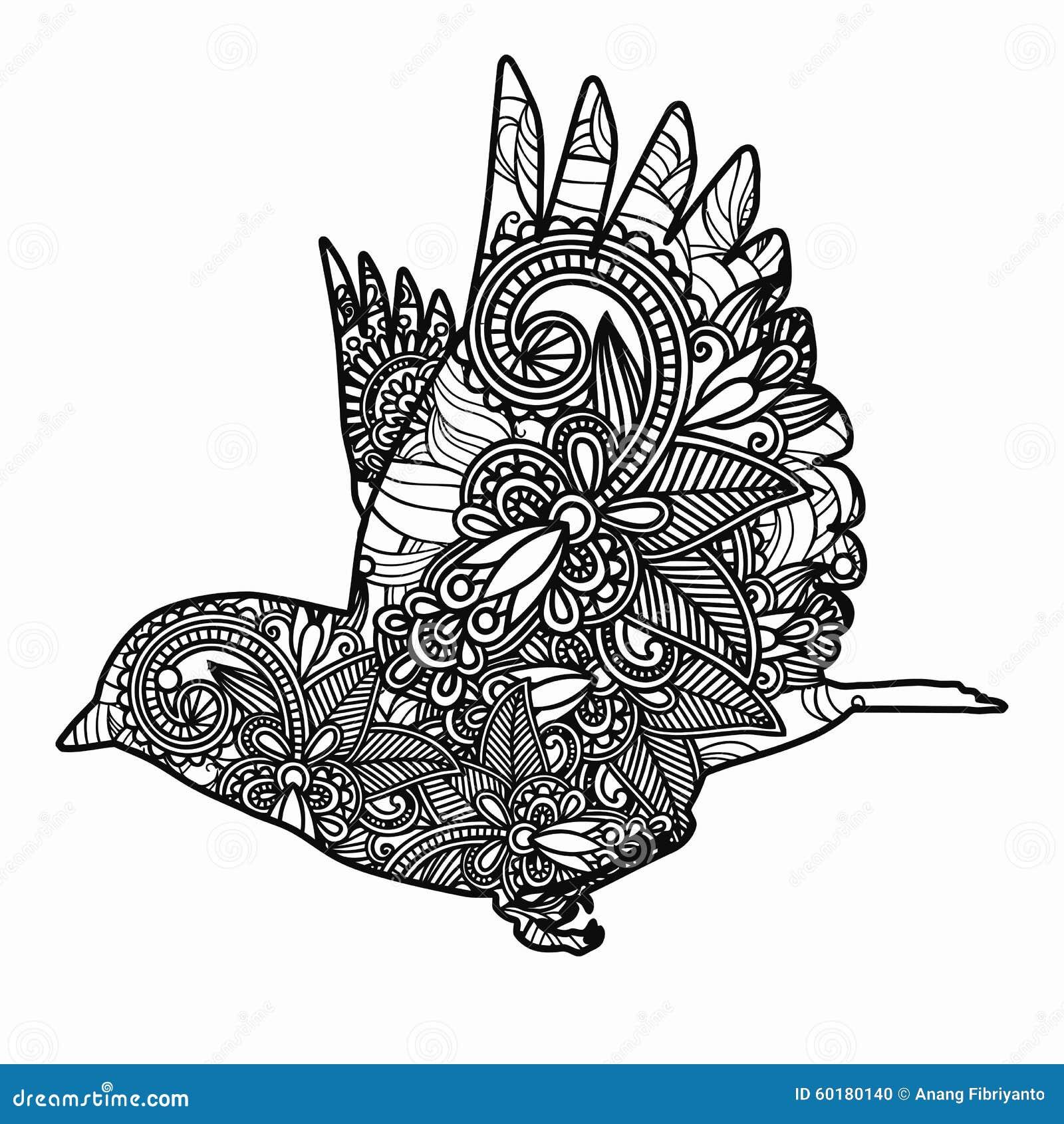 Zentangle Stylized Bird Illustration Hand Drawn Doodle Isolated On White