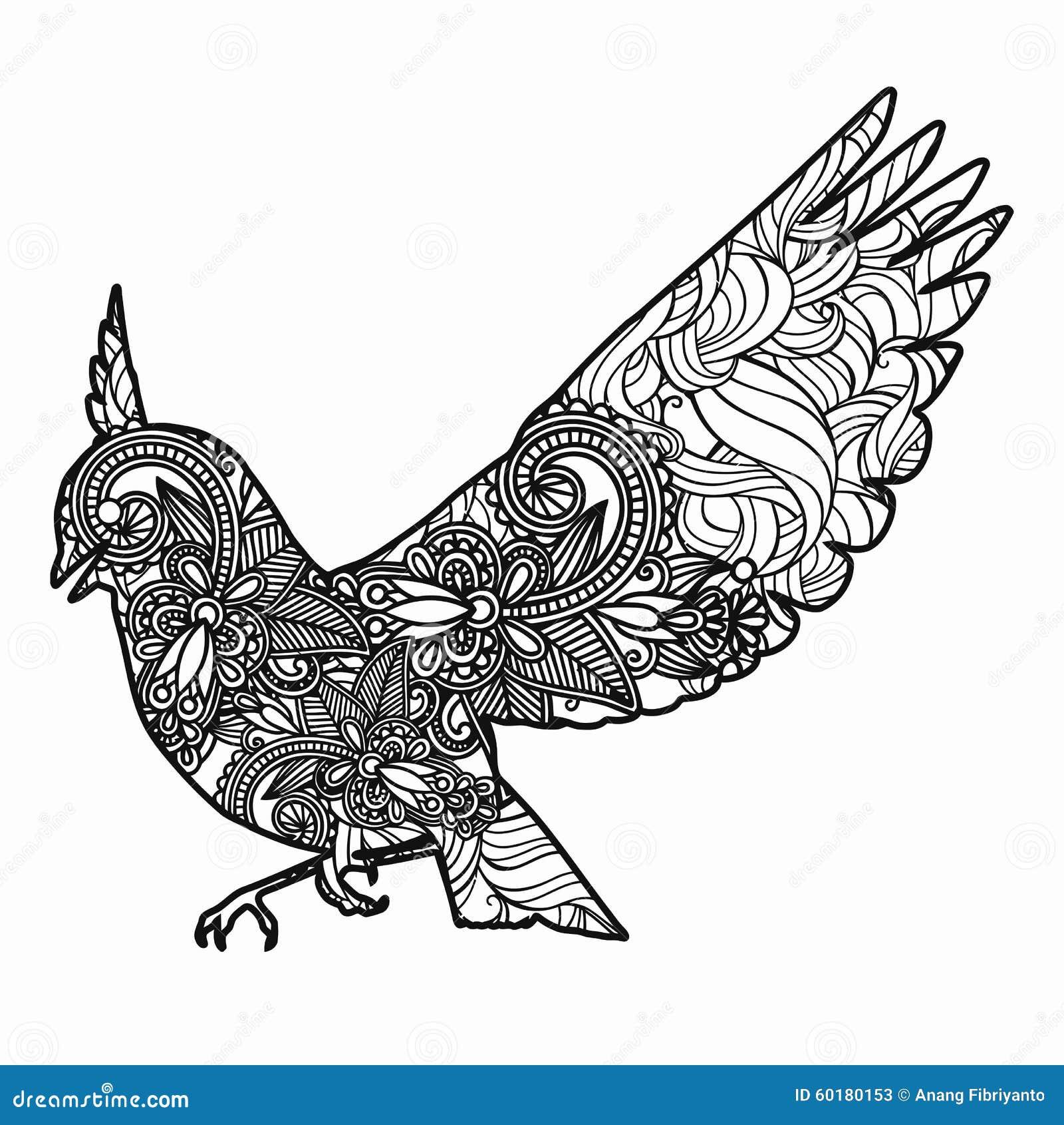Zentangle Stylized Bird Illustration