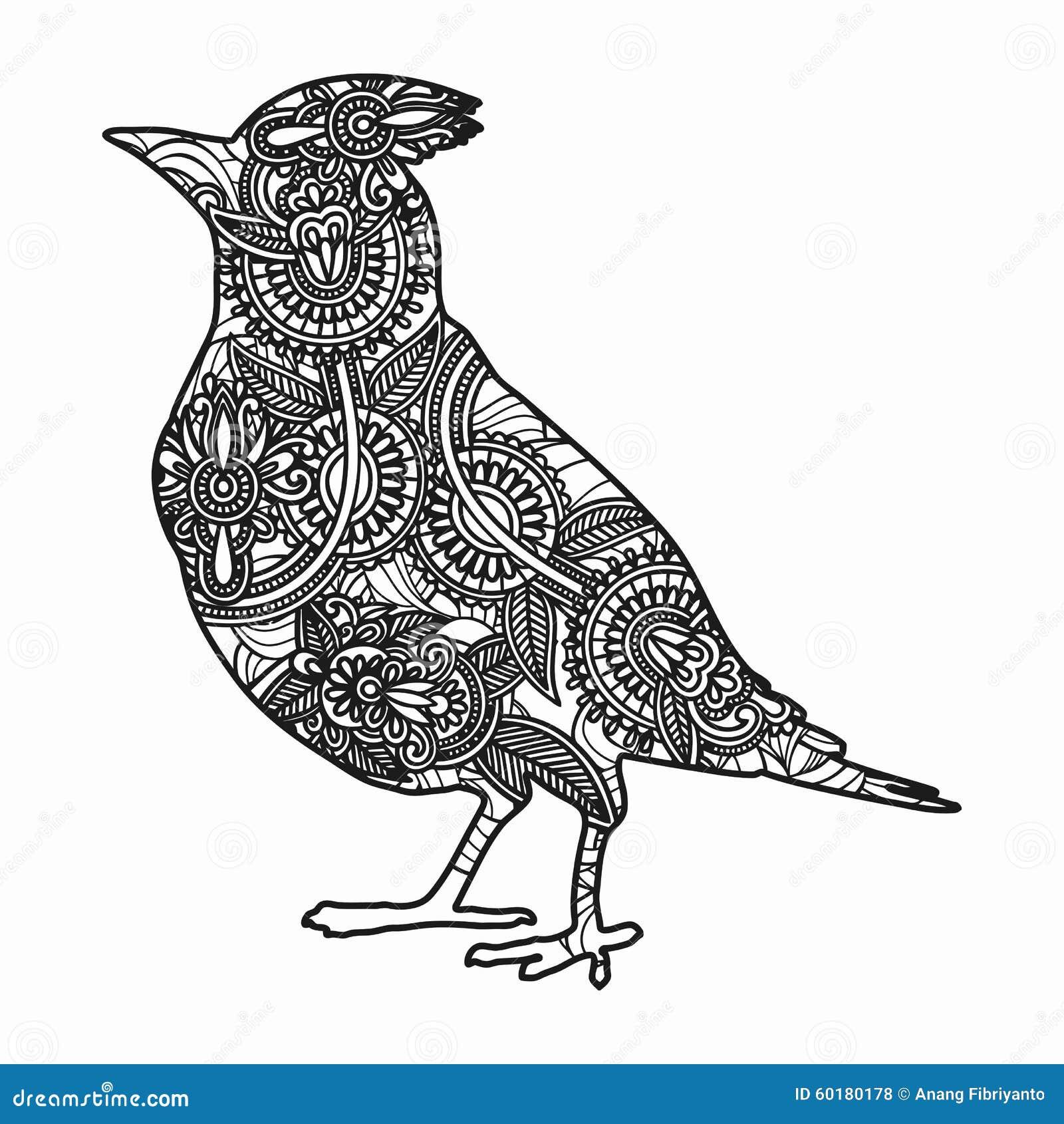 Zentangle Stylized Bird Illustration. Hand Drawn Doodle
