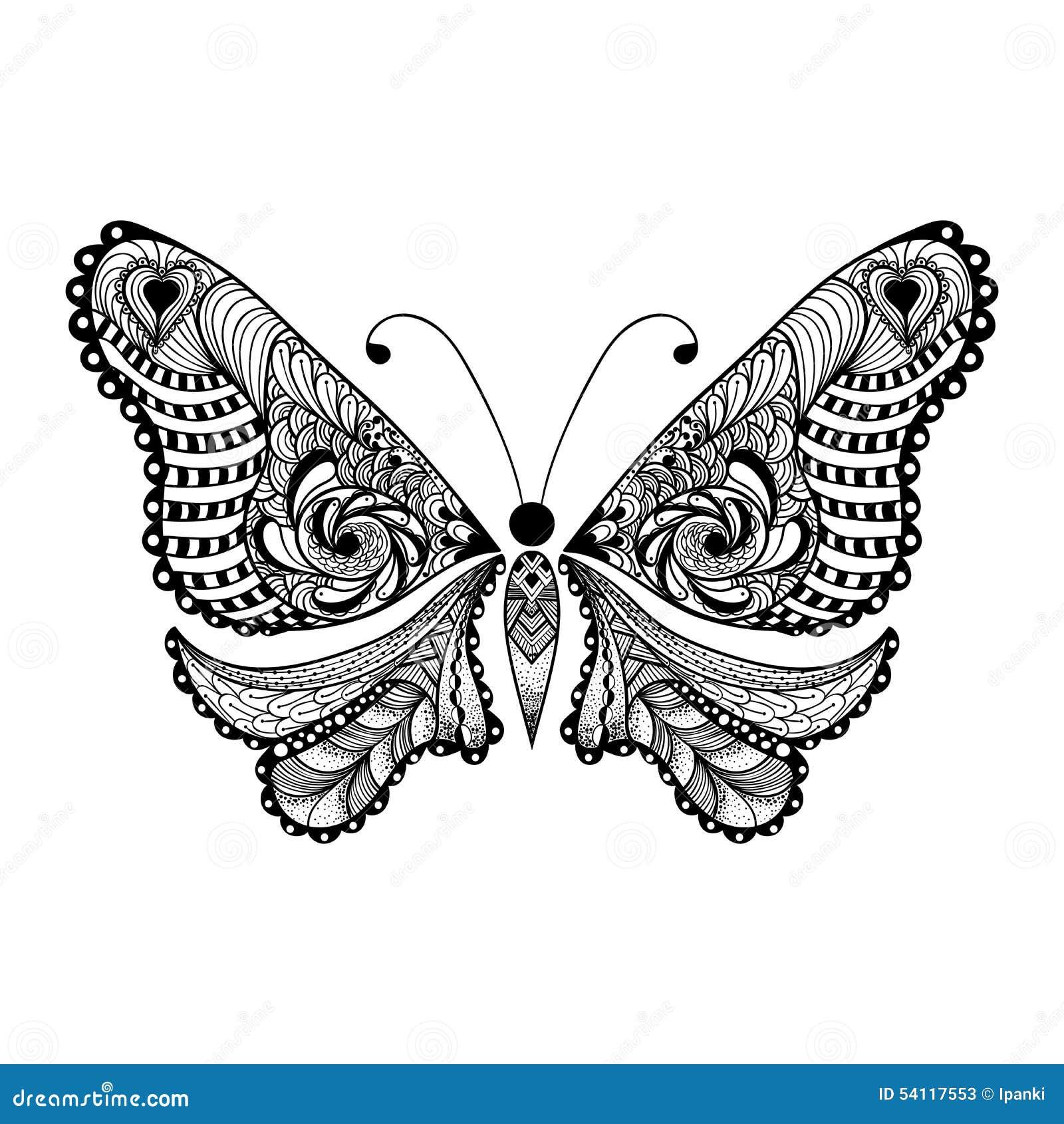 zentangle stylized black butterfly  hand drawn stock illustration
