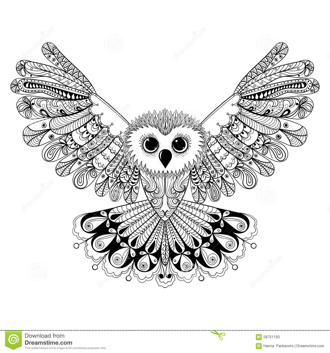 Zentangle Stylized Black Owl Hand Drawn Vector Illustration Iso Stock