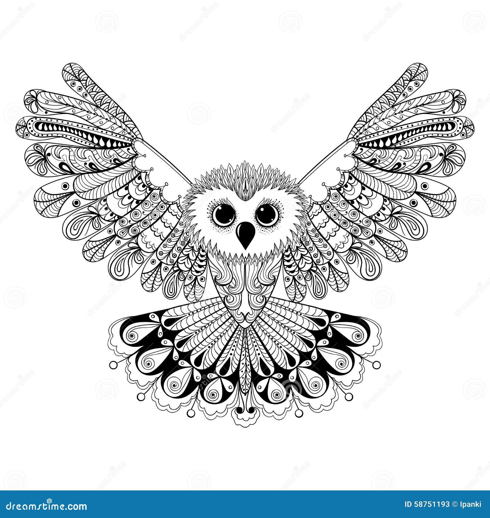 Zentangle Stylized Black Owl. Hand Drawn Vector Illustration Iso Stock ...