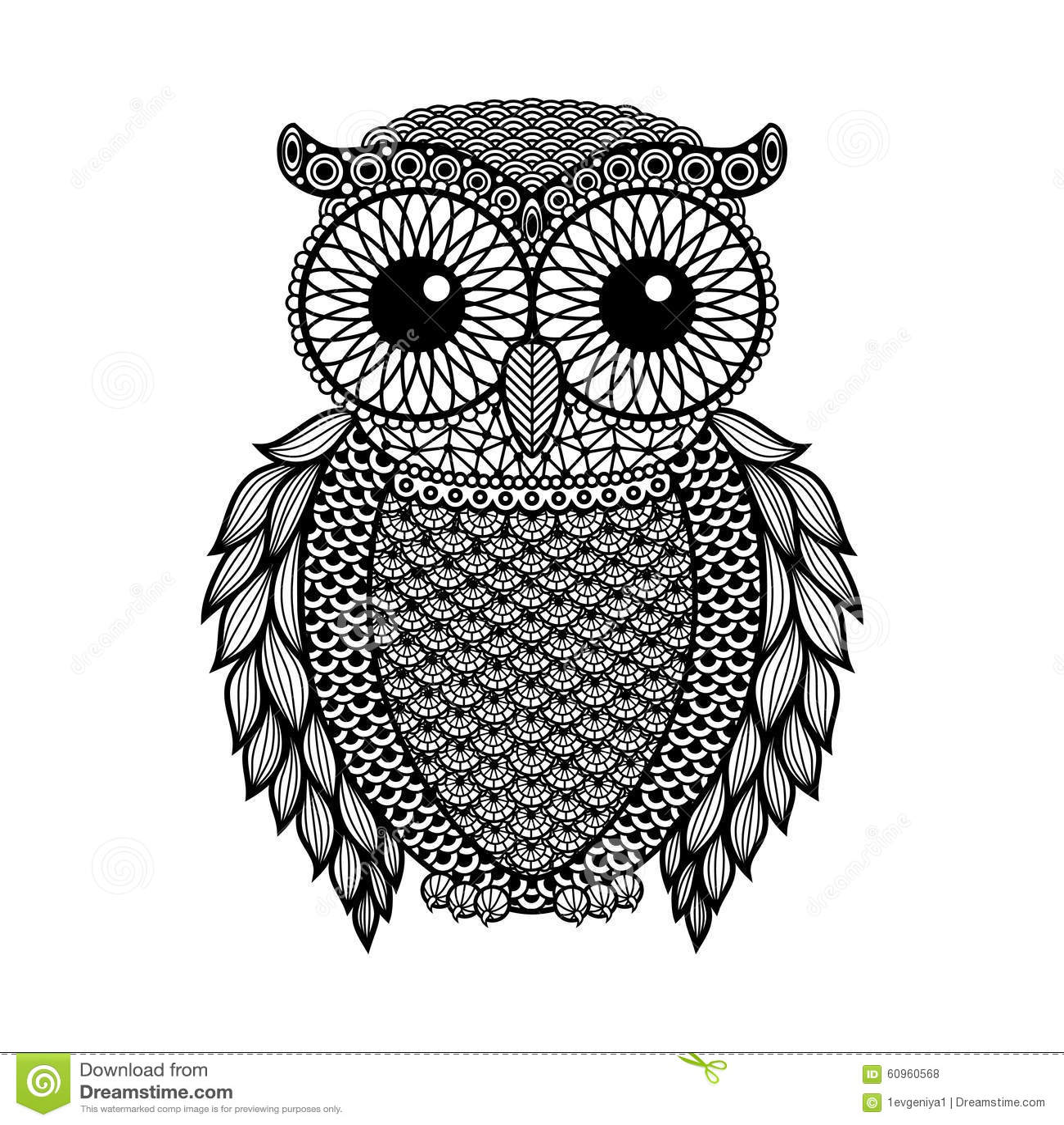 zentangle stylized black owl hand drawn vector. Black Bedroom Furniture Sets. Home Design Ideas