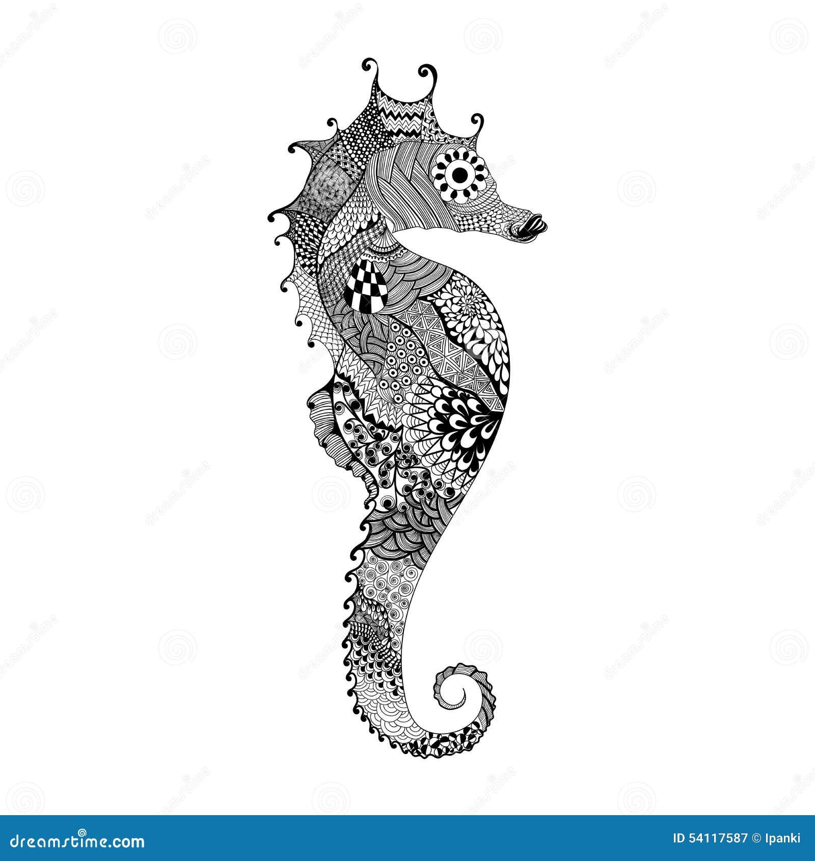 zentangle stylized seahorse stock vector image 69170671