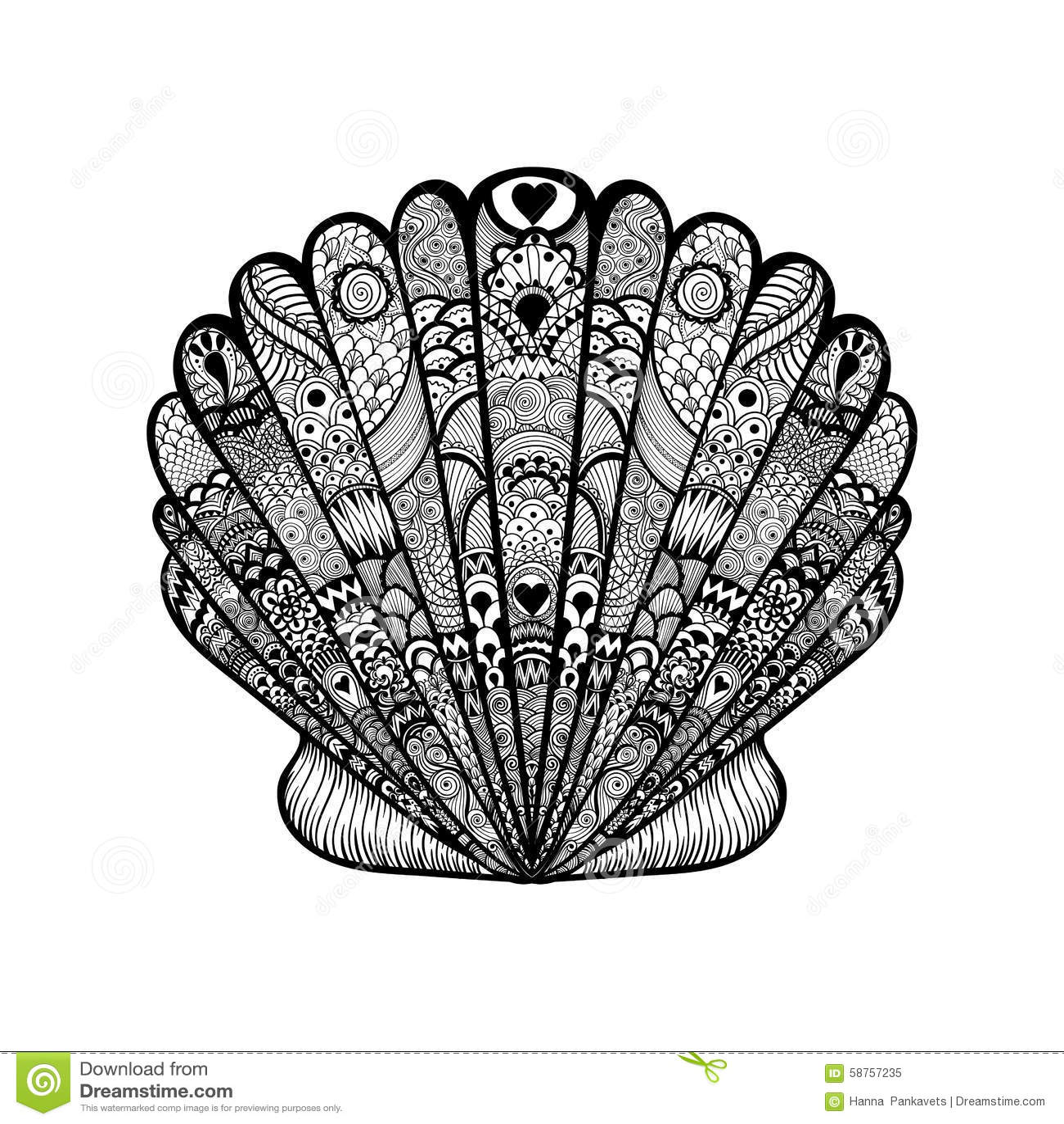 Zentangle Stylized Black Sea Shell Hand Drawn Doodle