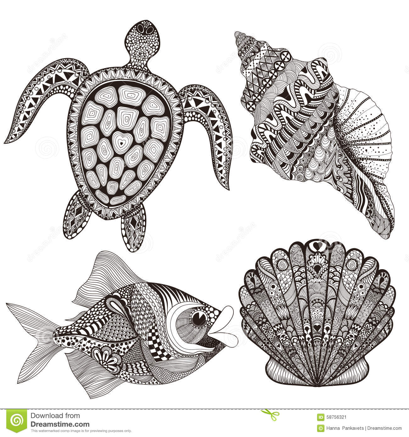 3c5bd9cd2 Zentangle stylized black sea shells, fish and turtle. Hand Drawn doodle  vector illustration. Sketch for tattoo or makhenda. Seal collection. Ocean  life set.