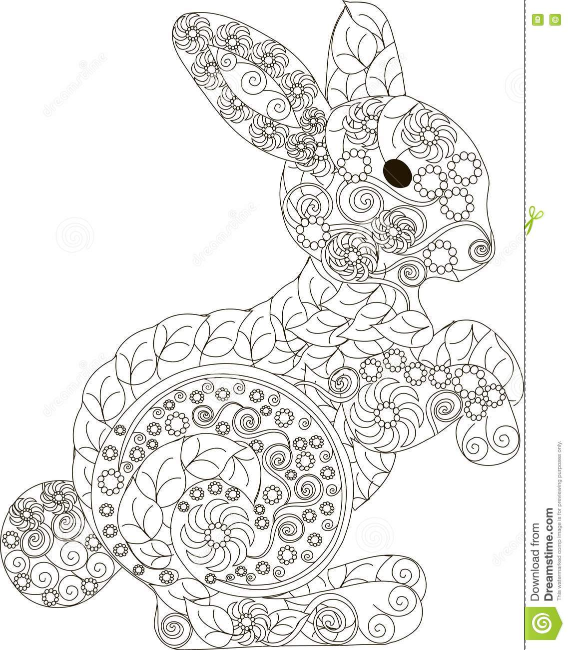 Zentangle Stylized Black And White Hand Drawn Rabbit