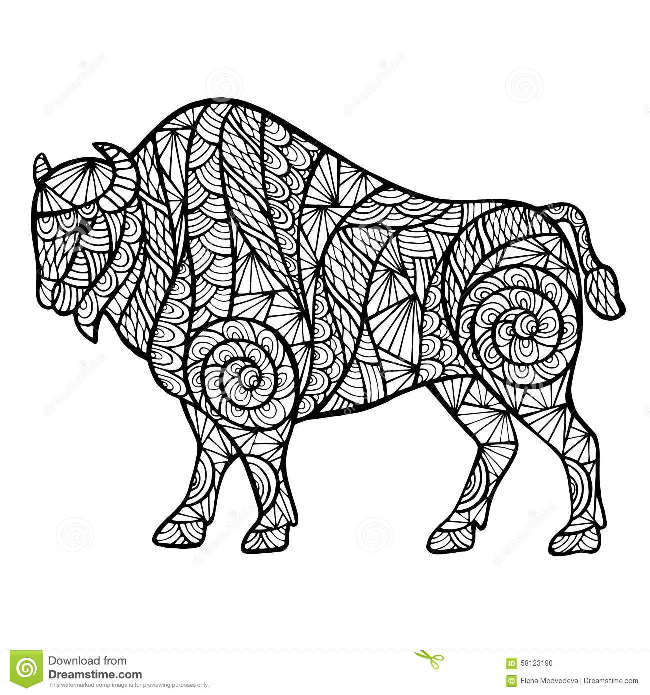 zentangle stylized buffalo stock vector image 58123190