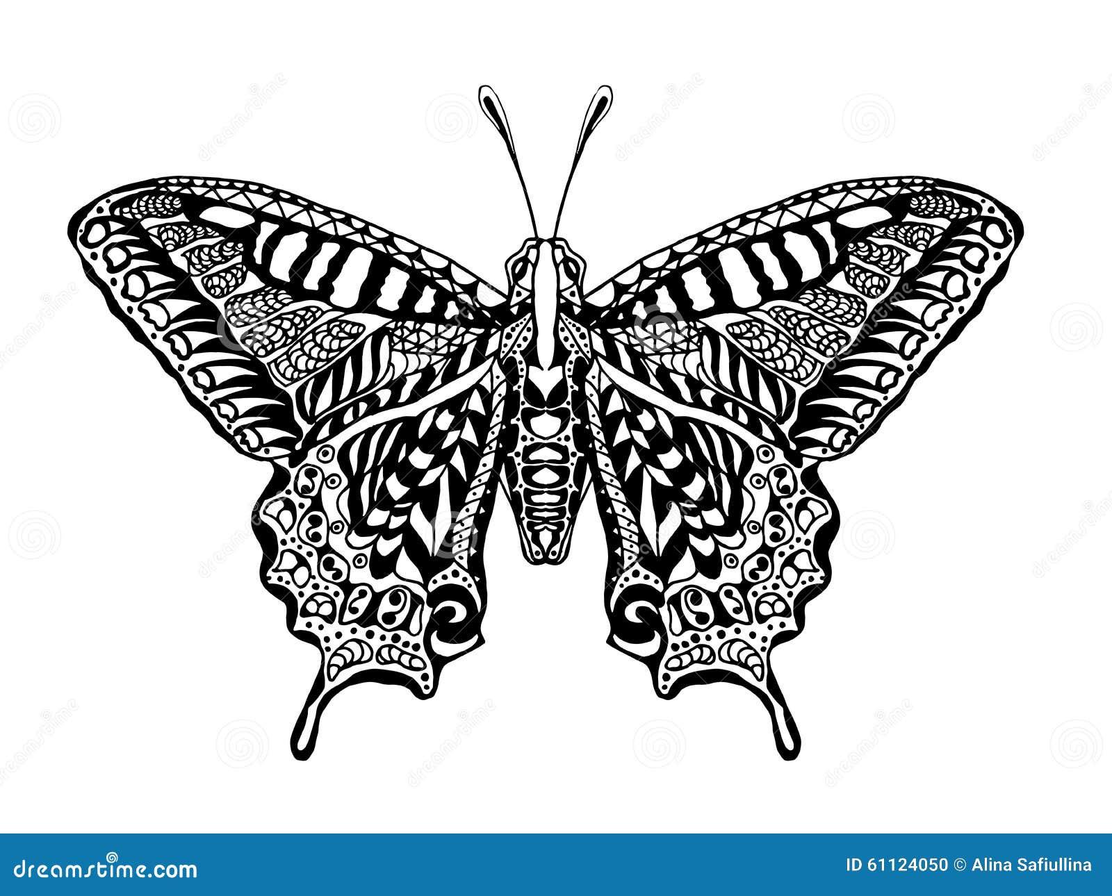 Zentangle Stylized Butterfly Stock Illustration Image
