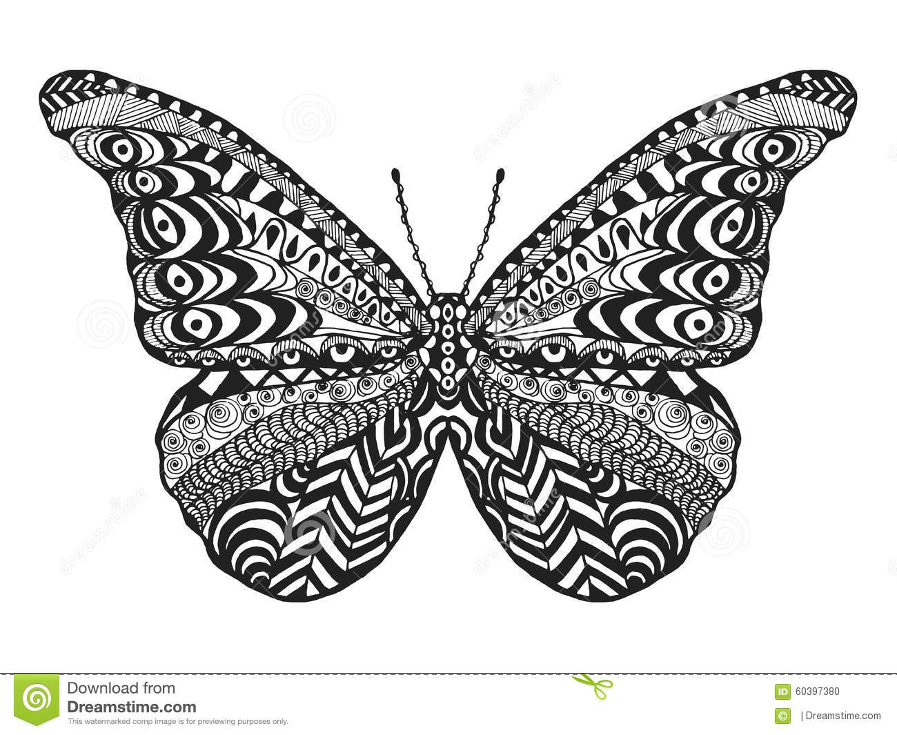 Zentangle Stylized Butterfly Stock Vector Image 60397380