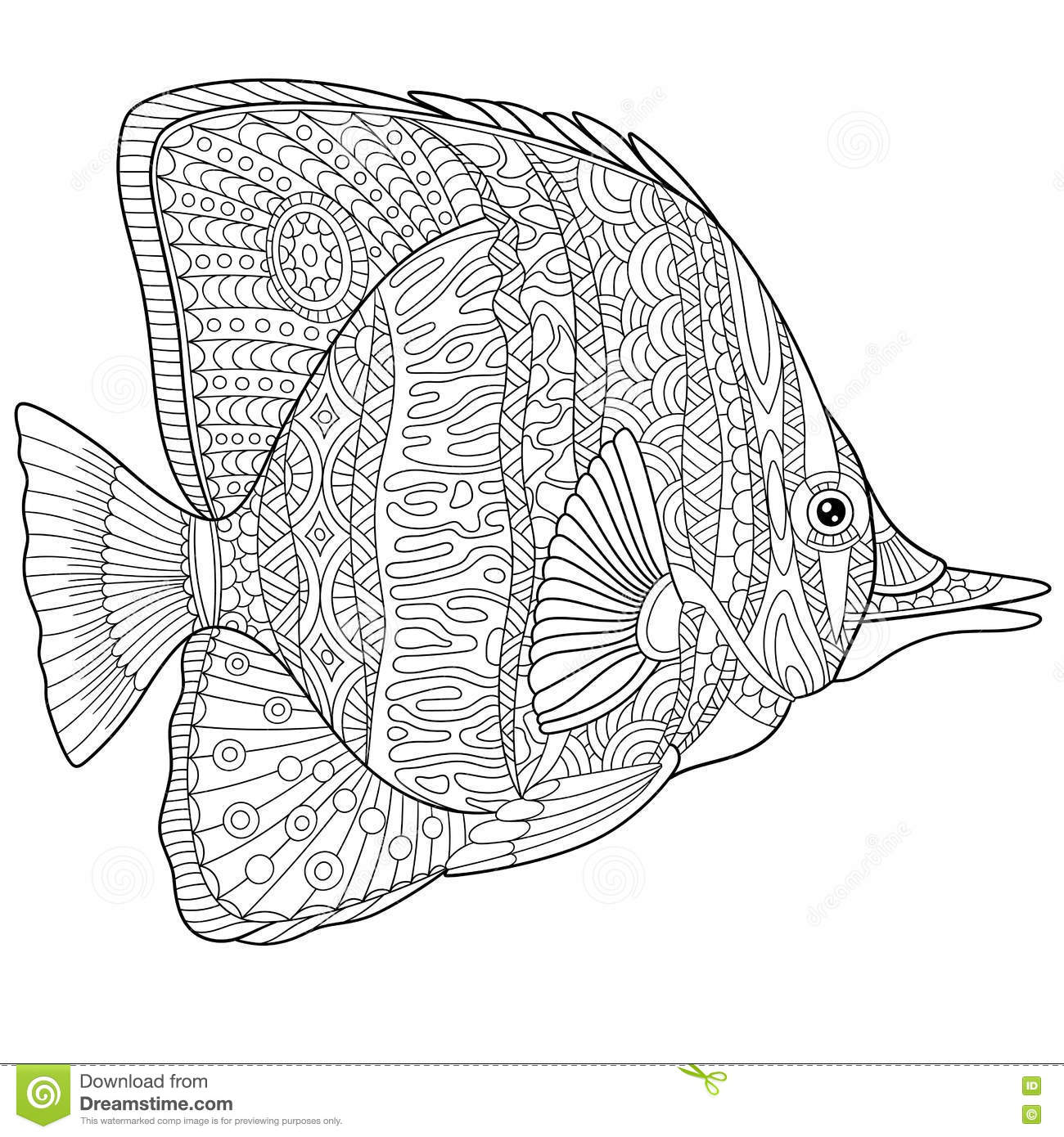Zentangle Stylized Butterfly Fish Stock Vector
