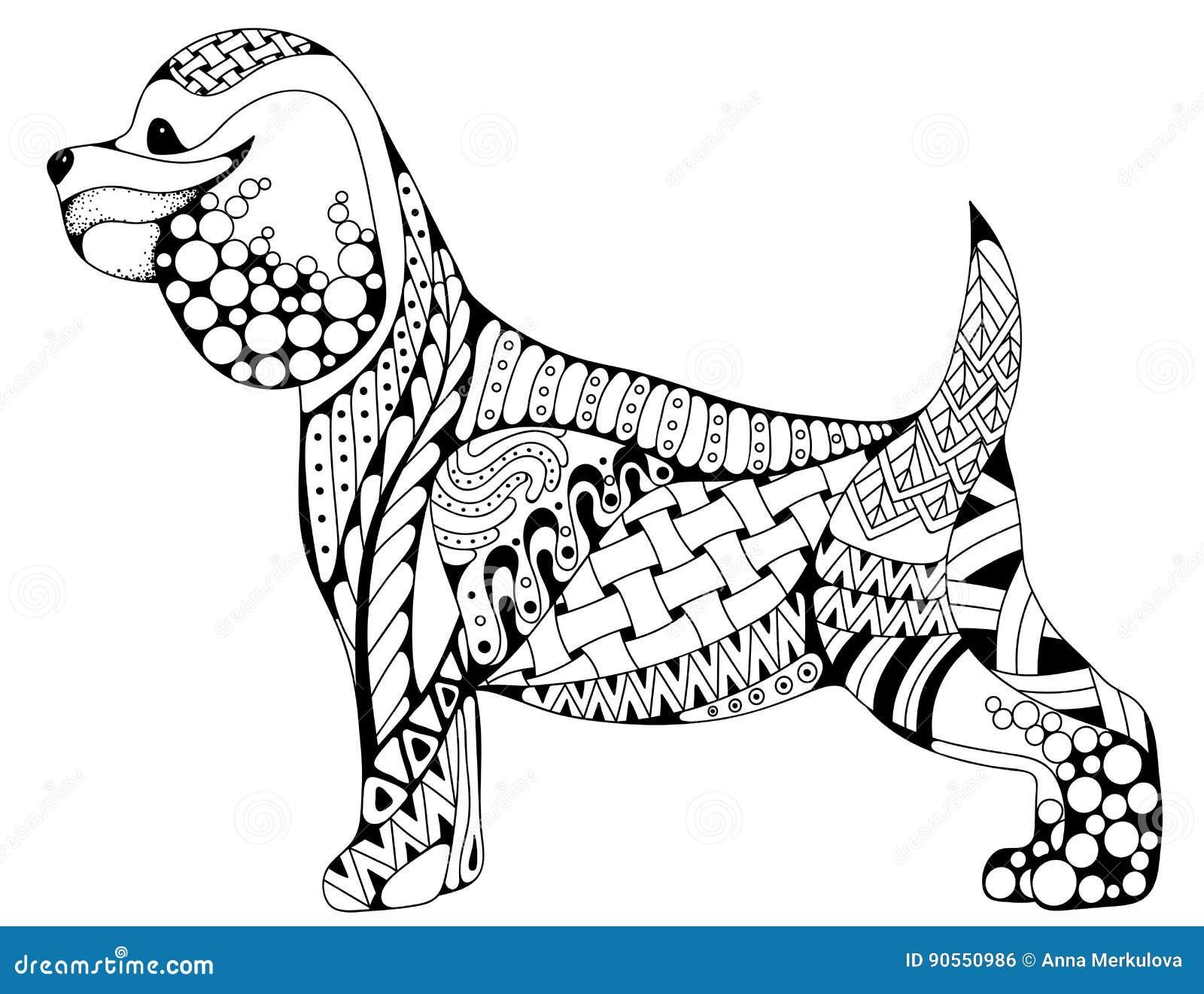 Zentangle Stylized Cartoon Cocker Spaniel Dog, Isolated On ...