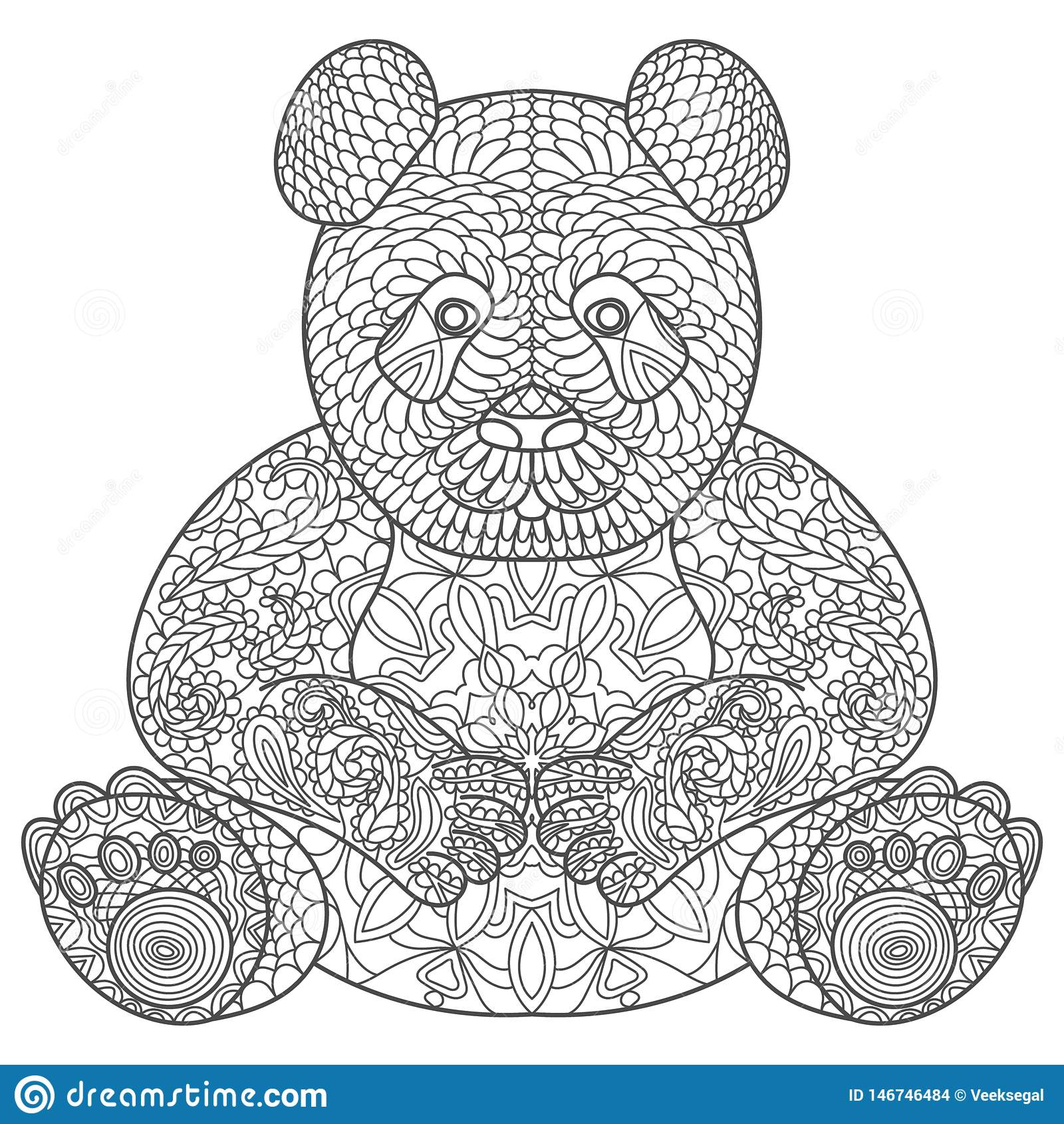 e962823421b51 Sketch for adult antistress coloring page. Hand drawn doodle, zentangle,  floral design elements for coloring book. Vector illustration