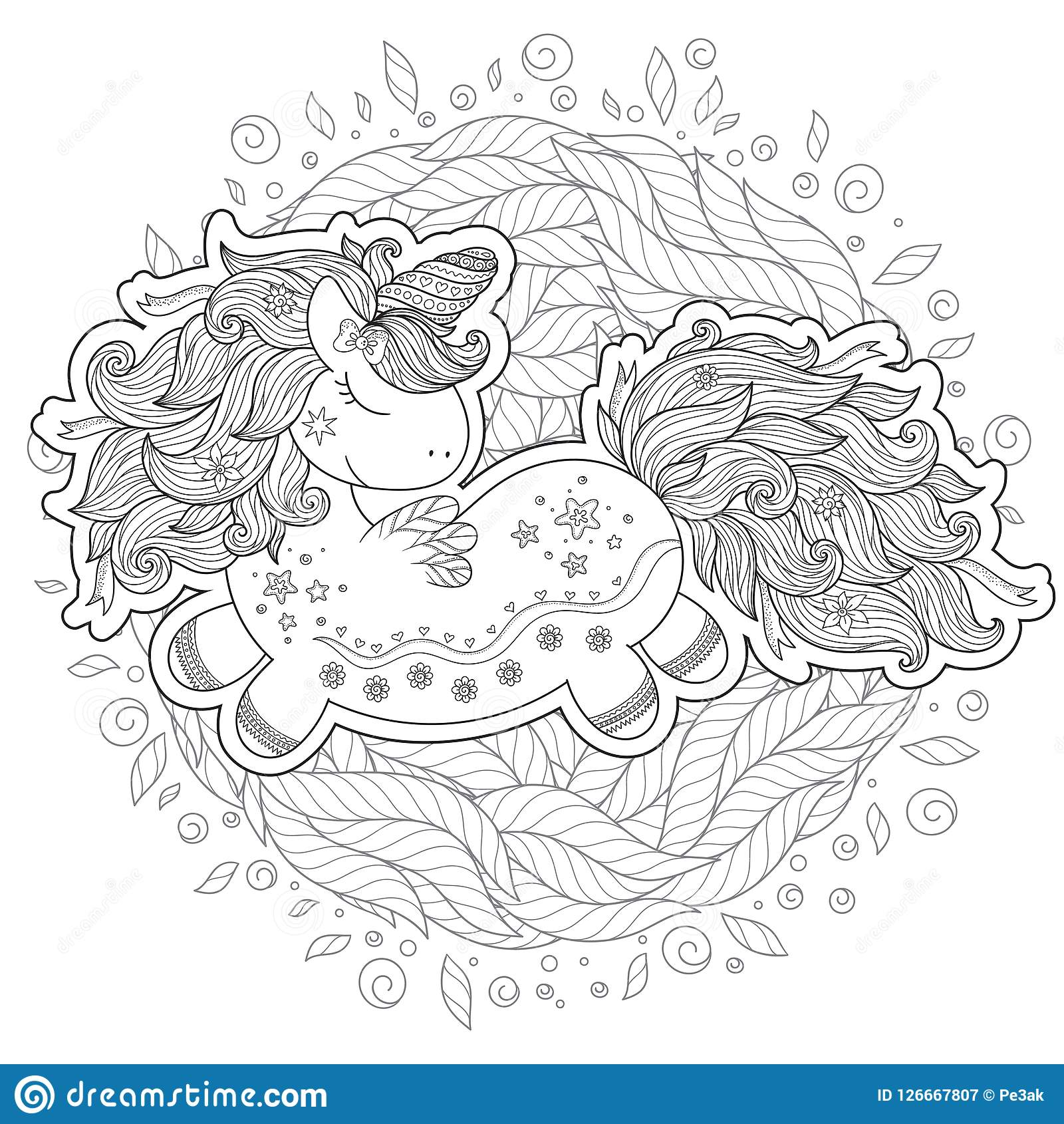 zentangle stylized cartoon unicorn isolated white background perfect adult antistress coloring page t shirt print logo