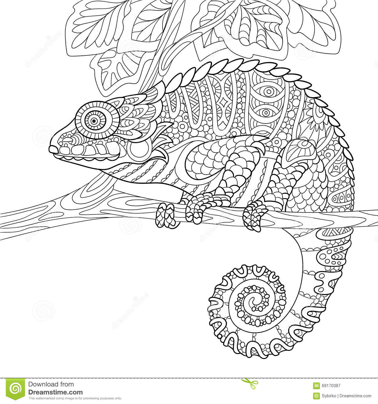Free coloring pages chameleon - Zentangle Stylized Chameleon Royalty Free Stock Photography
