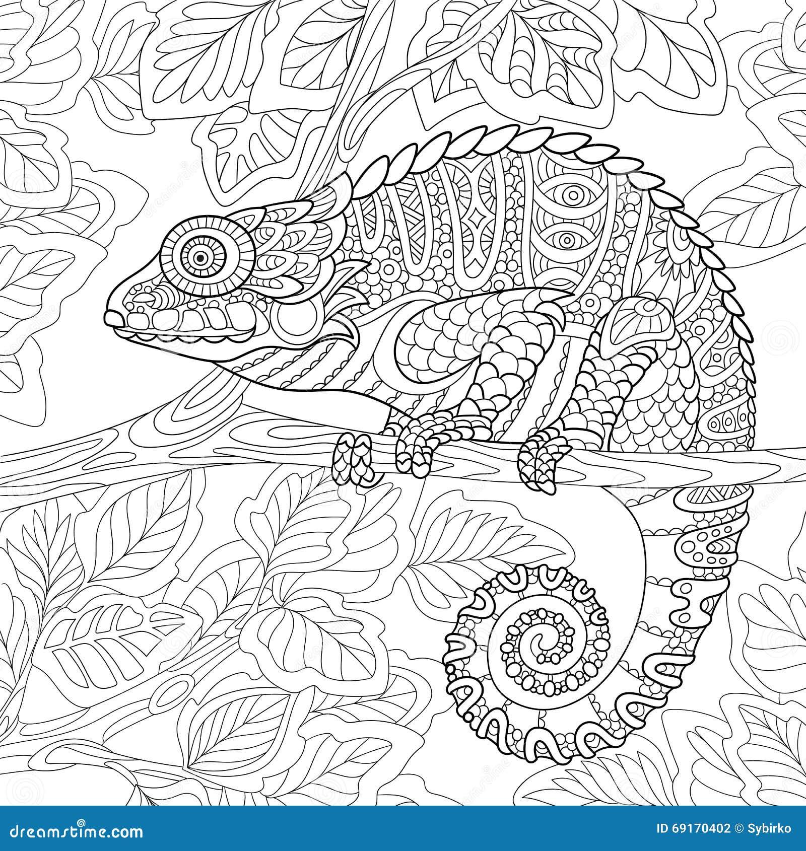 Zentangle Stylized Chameleon Stock Vector