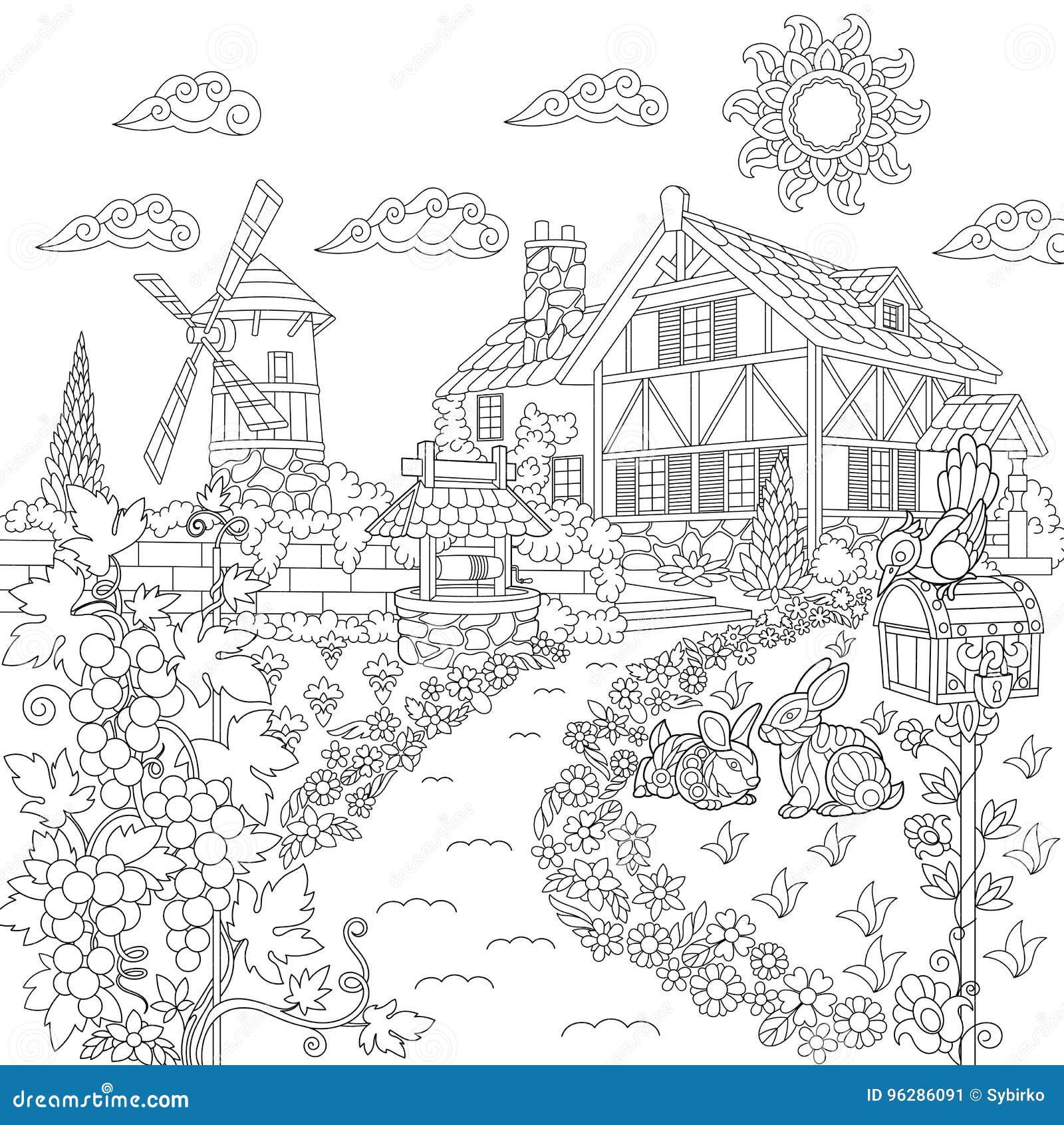 Zentangle Stylized Countryside Scene Stock Vector
