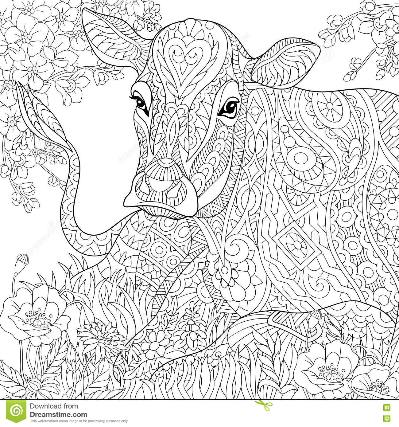 Zentangle Stylized Cartoon Pasturing Cow Flower Blossom Grass Field Hand Drawn Sketch For Adult Antistress Coloring Book Page T Shirt Emblem