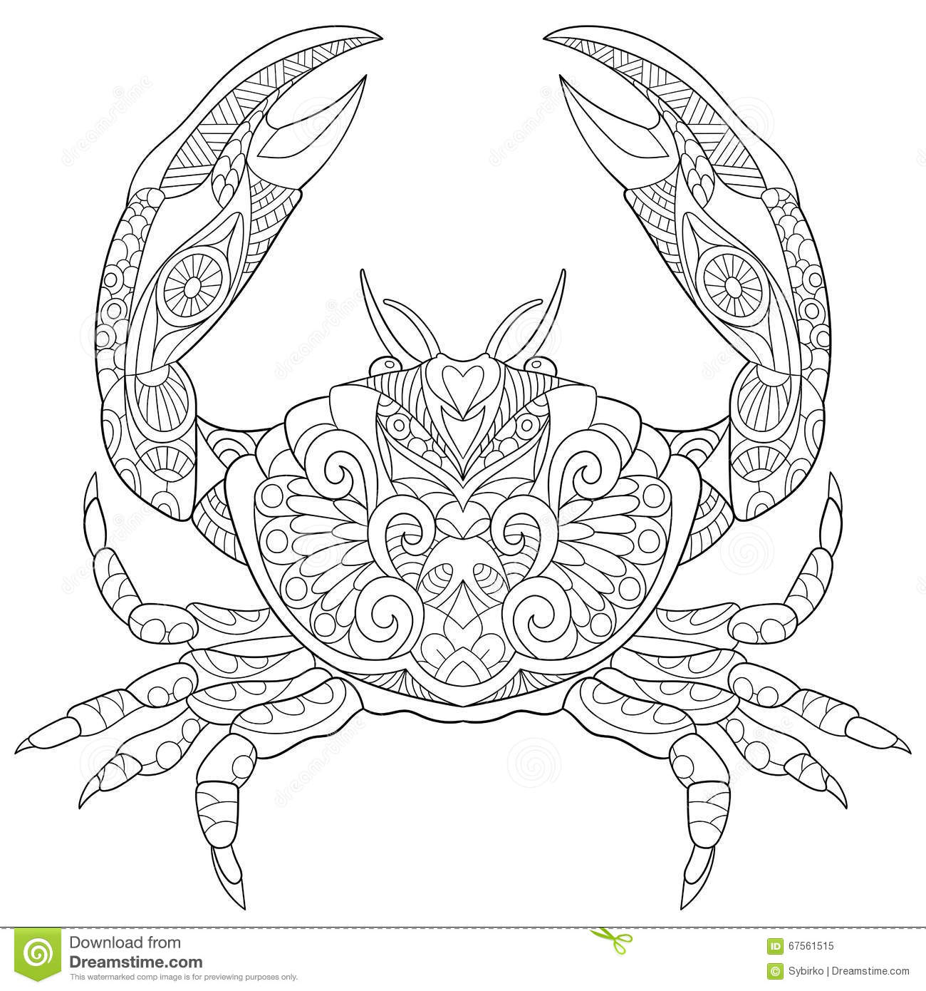 Zentangle Stylized Crab Stock Vector Illustration Of