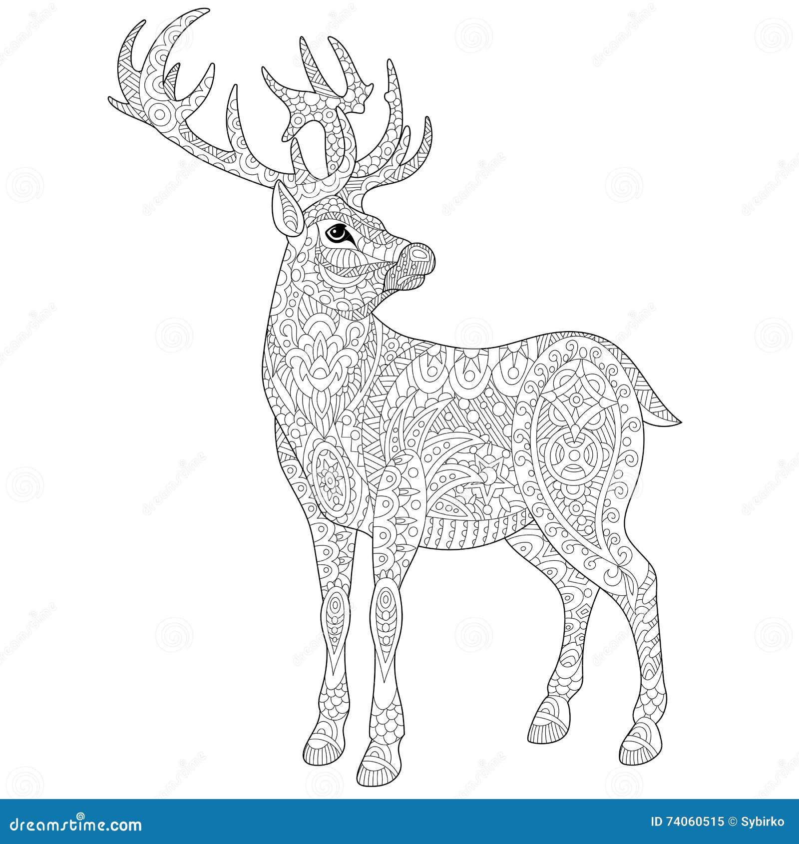 Volwassen Kleurplaat Hert Zentangle Stylized Deer Stock Vector Illustration Of