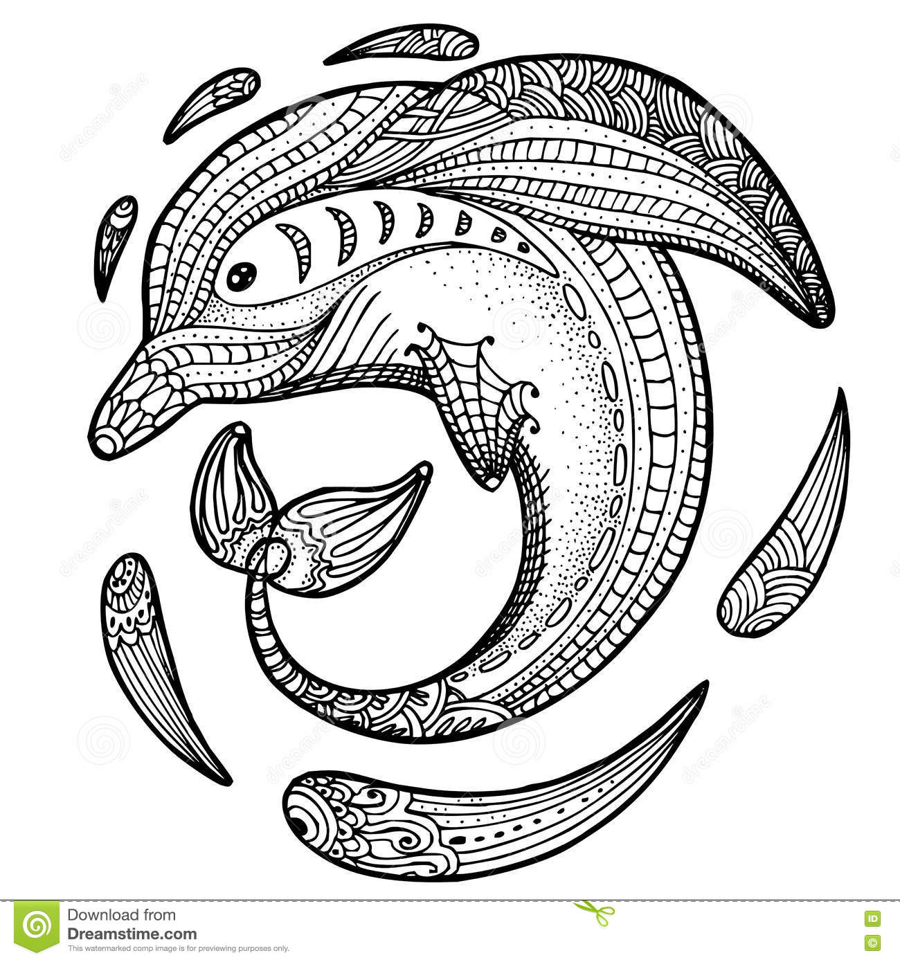 Stress Coloring Pages Animals : Zentangle stylized dolphin adult anti stress coloring