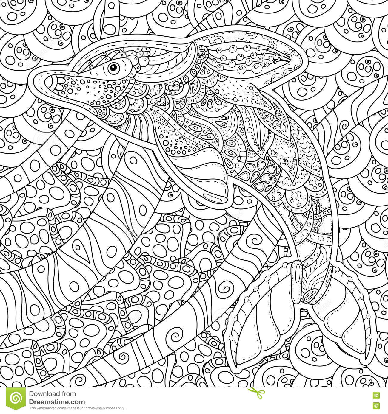 zentangle stylized dolphin anti stress coloring page stock