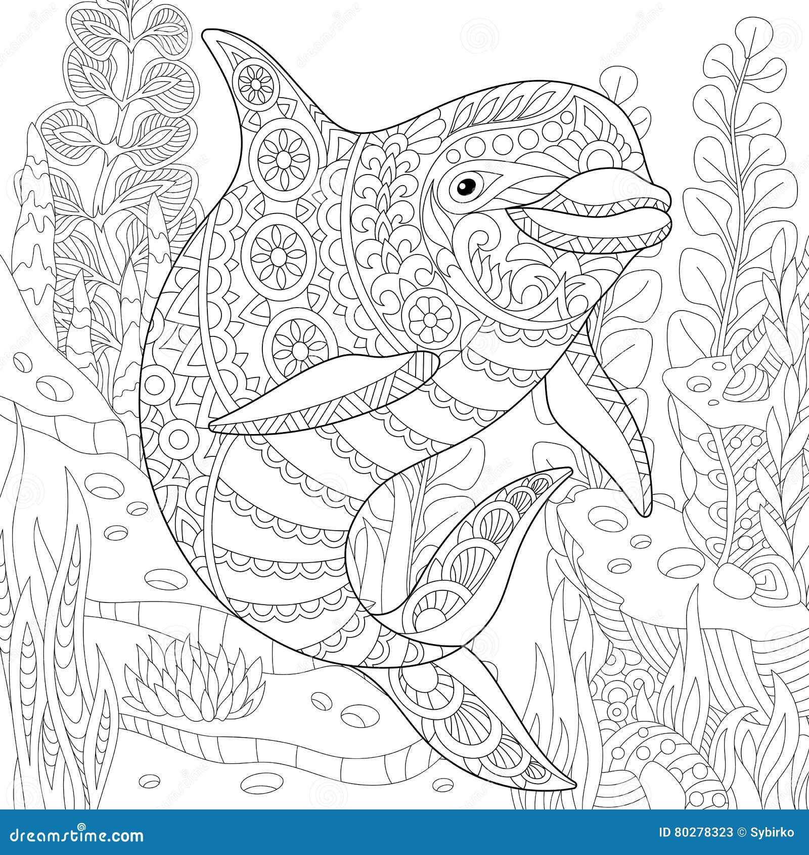 Dolphin Zentangle Vector Illustration Cartoondealer Com