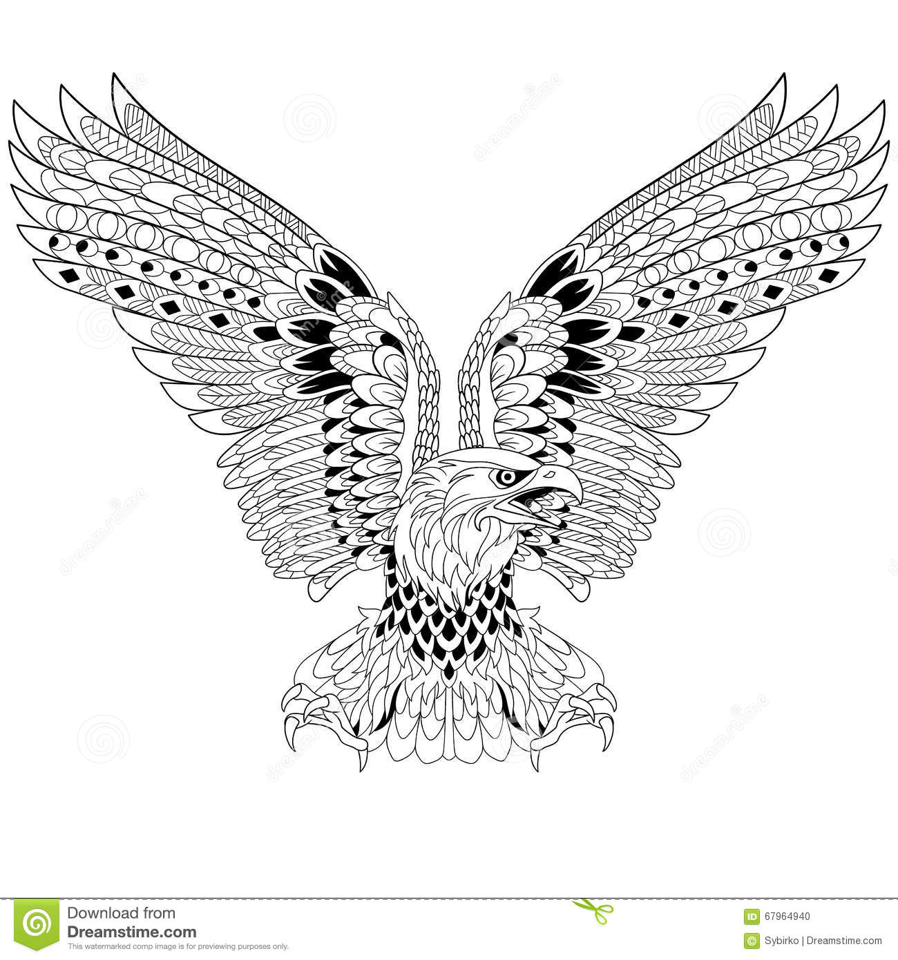 eagle mandala coloring pages - zentangle stylized eagle stock vector illustration of