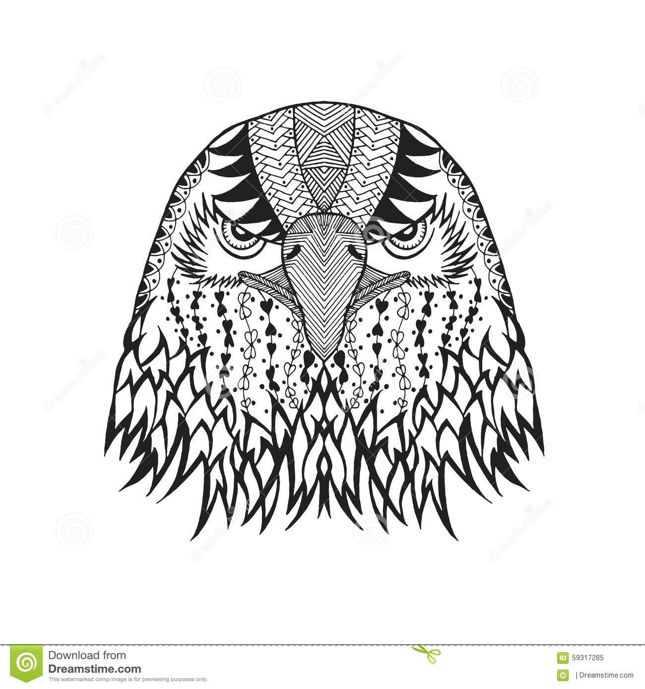 Zentangle Stylized Eagle Head Sketch For Tattoo Or T shirt Stock Vector Image 59317285