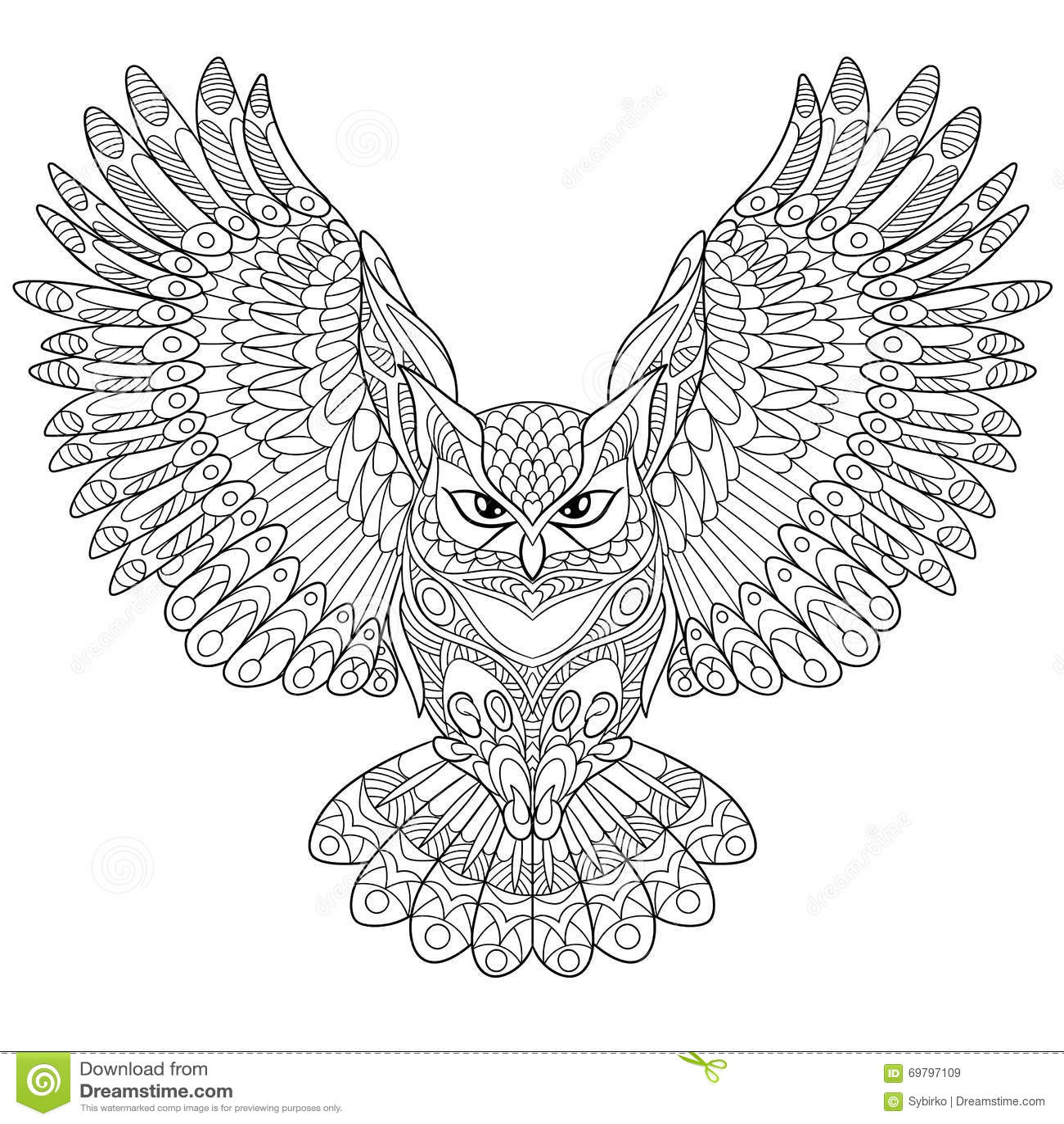 Volwassen Zen Kleurplaat Zentangle Stylized Eagle Owl Stock Vector Image 69797109
