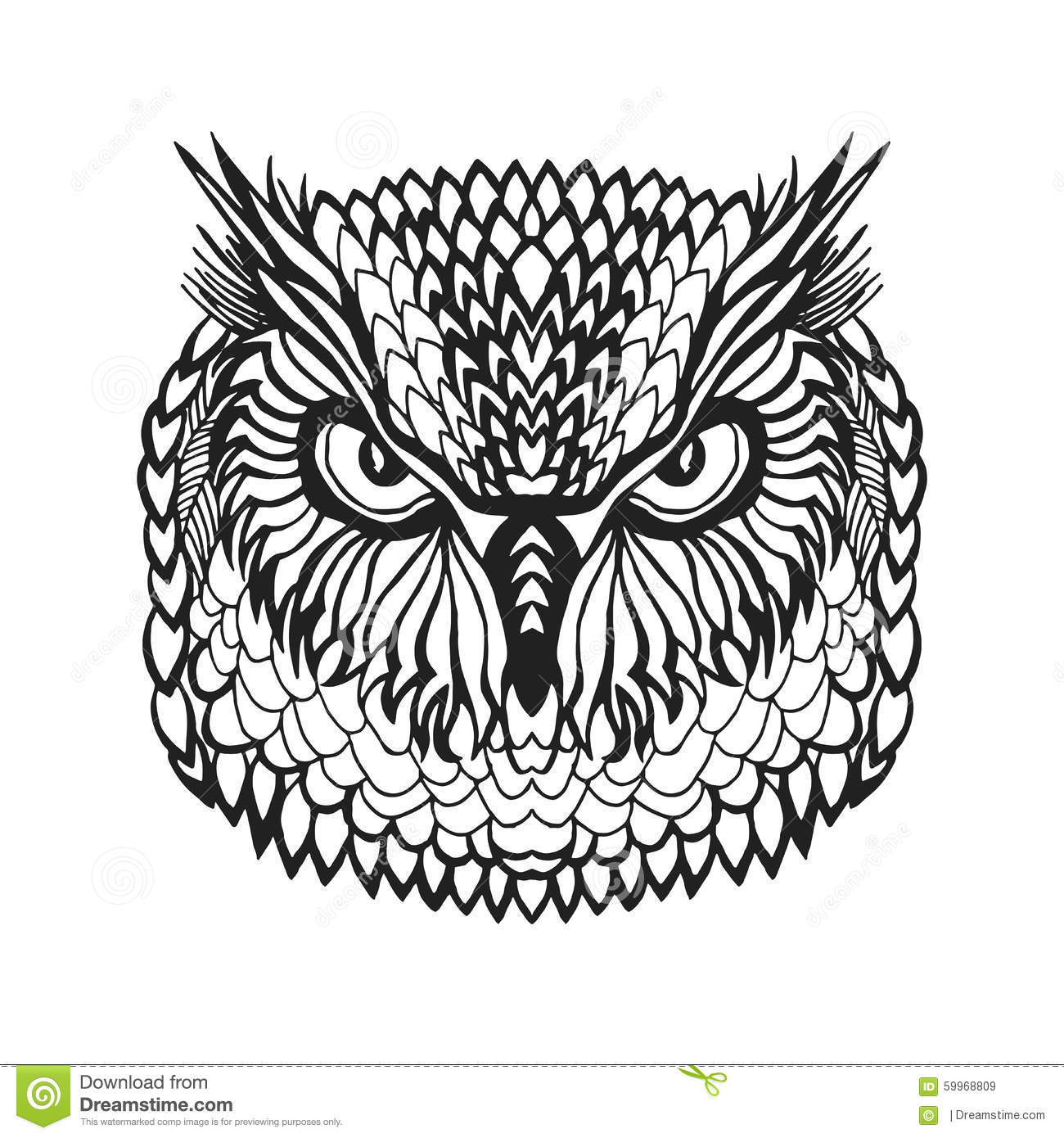 Zentangle Stylized Eagle Owl Head Tribal Sketch For Tattoo Or T shirt Stock Vector Image