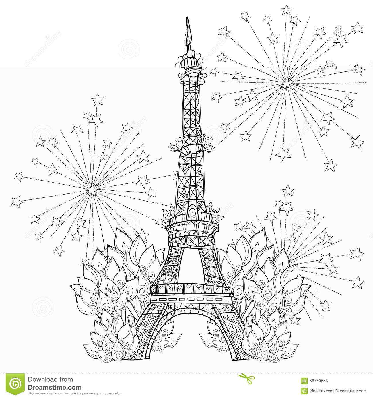 Zentangle Stylized Eiffel Tower Doodle Stock Illustration