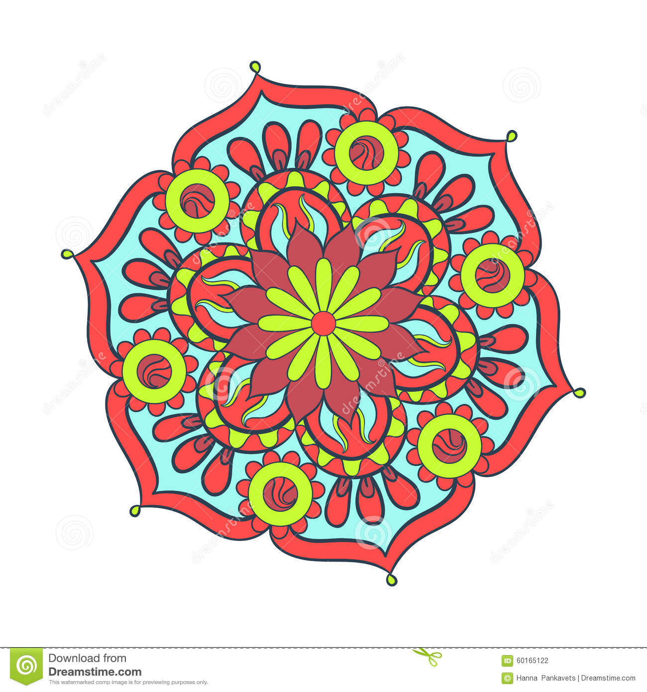 zentangle stylized elegant color mandala for coloring page stock