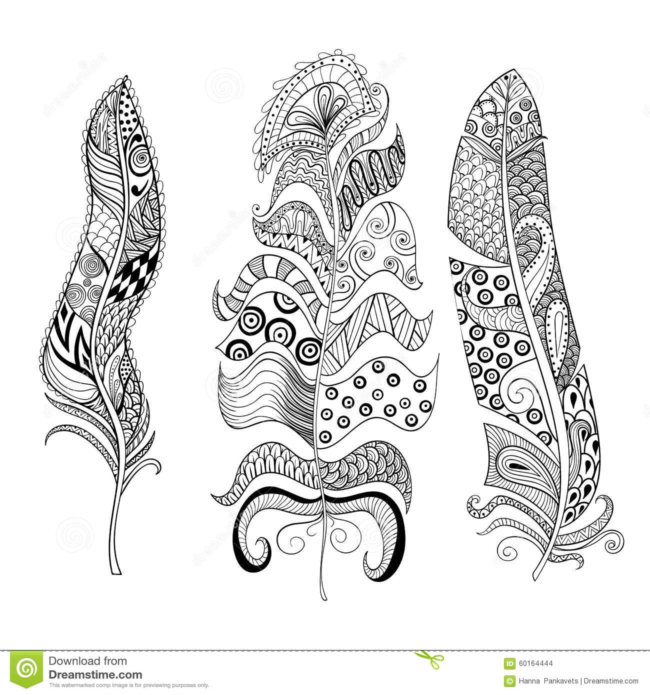 Zentangle Stylized Elegant Feathers