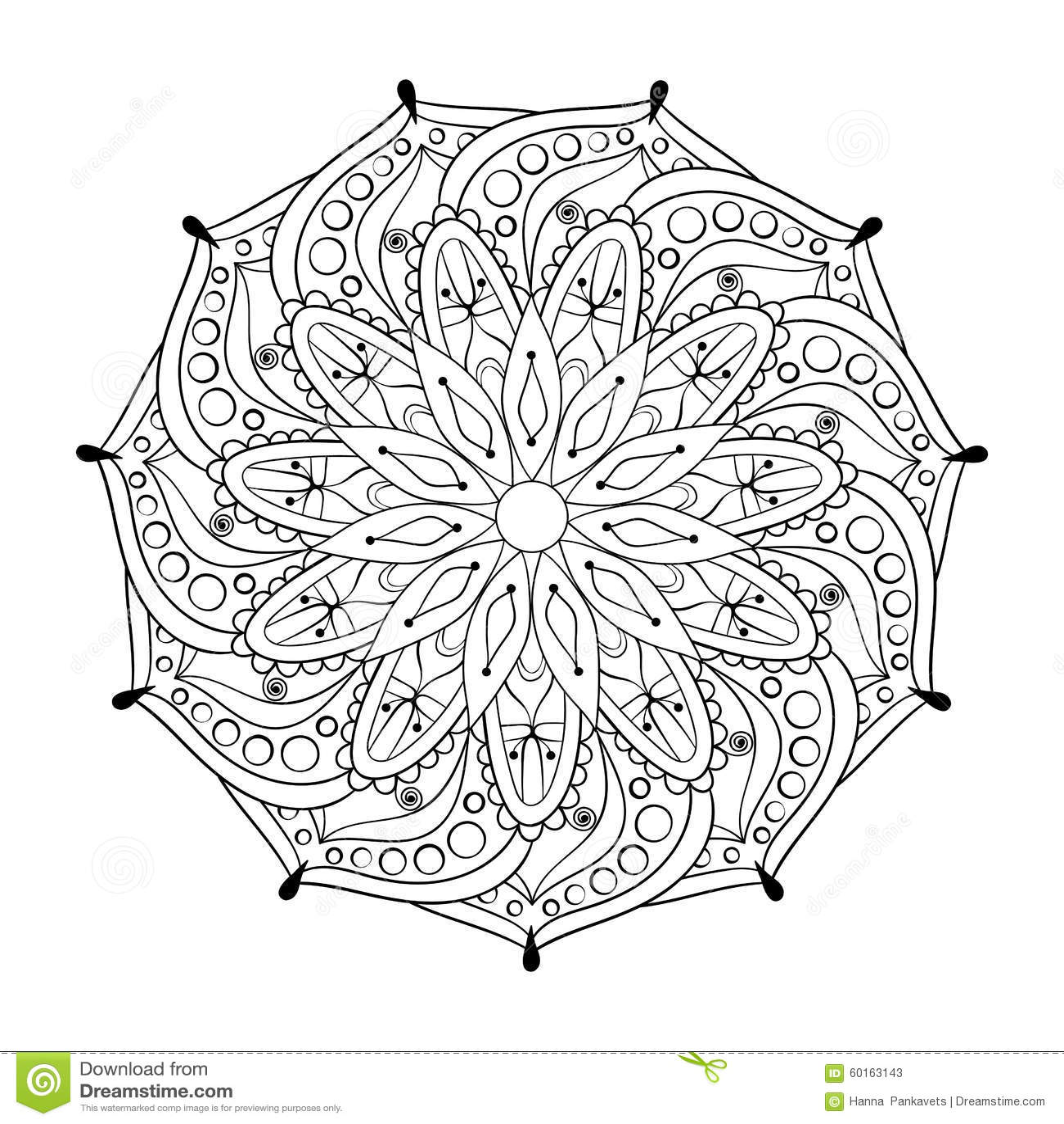 Zentangle Stylized Elegant Round Indian Mandala Stock