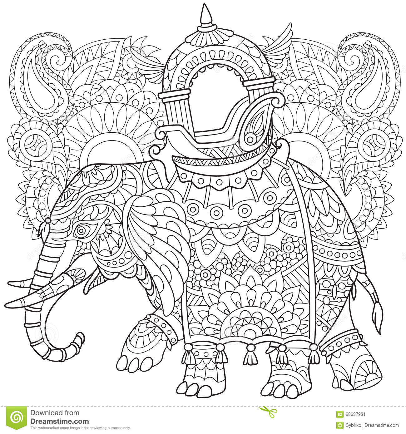 Zentangle Stylized Elephant Stock