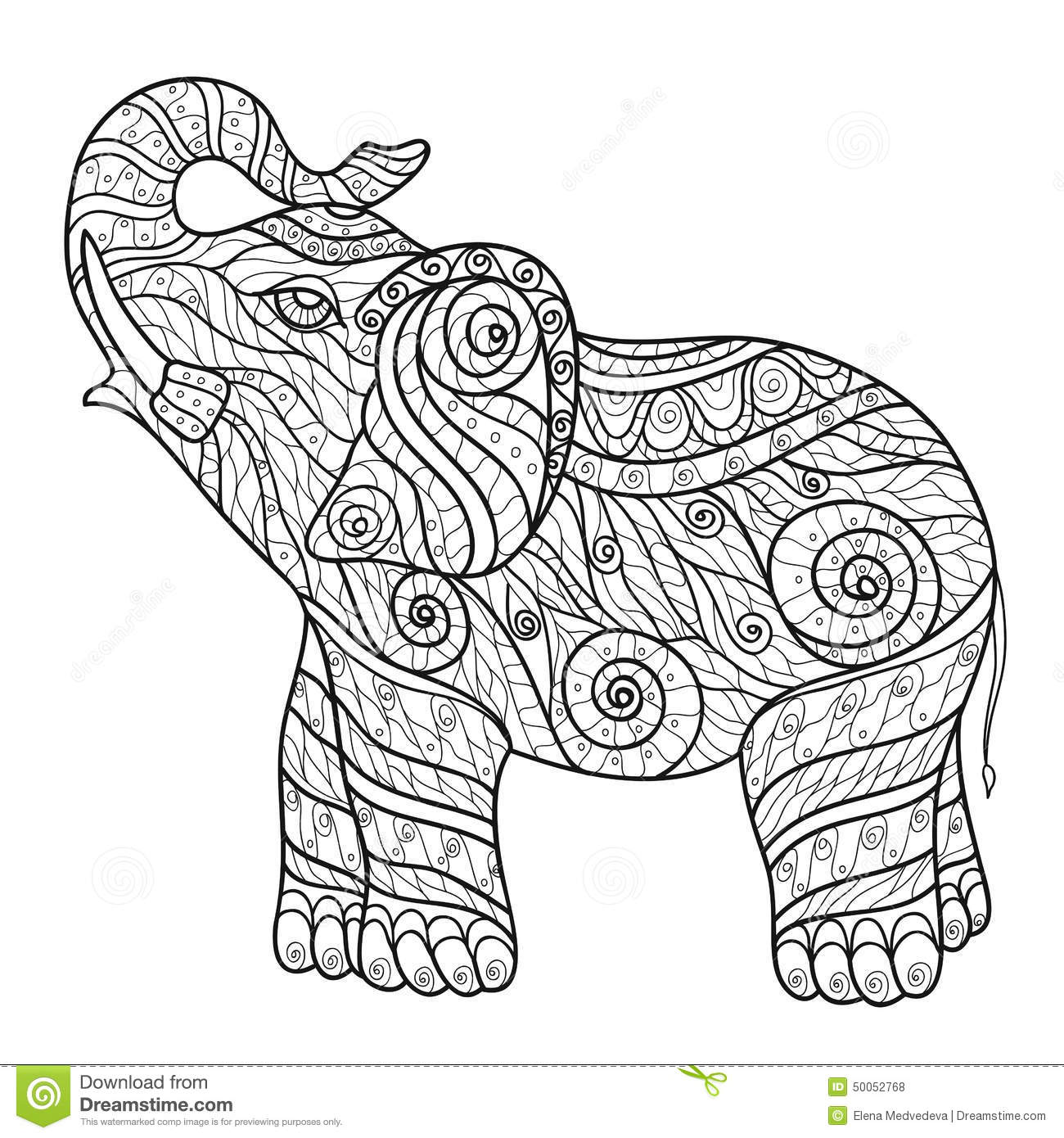 Stylized elephant in a graphic style vector illustration zentangle