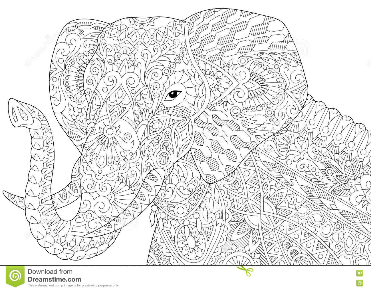 Free zentangle elephant coloring pages ~ Zentangle Stylized Elephant Stock Vector - Illustration of ...