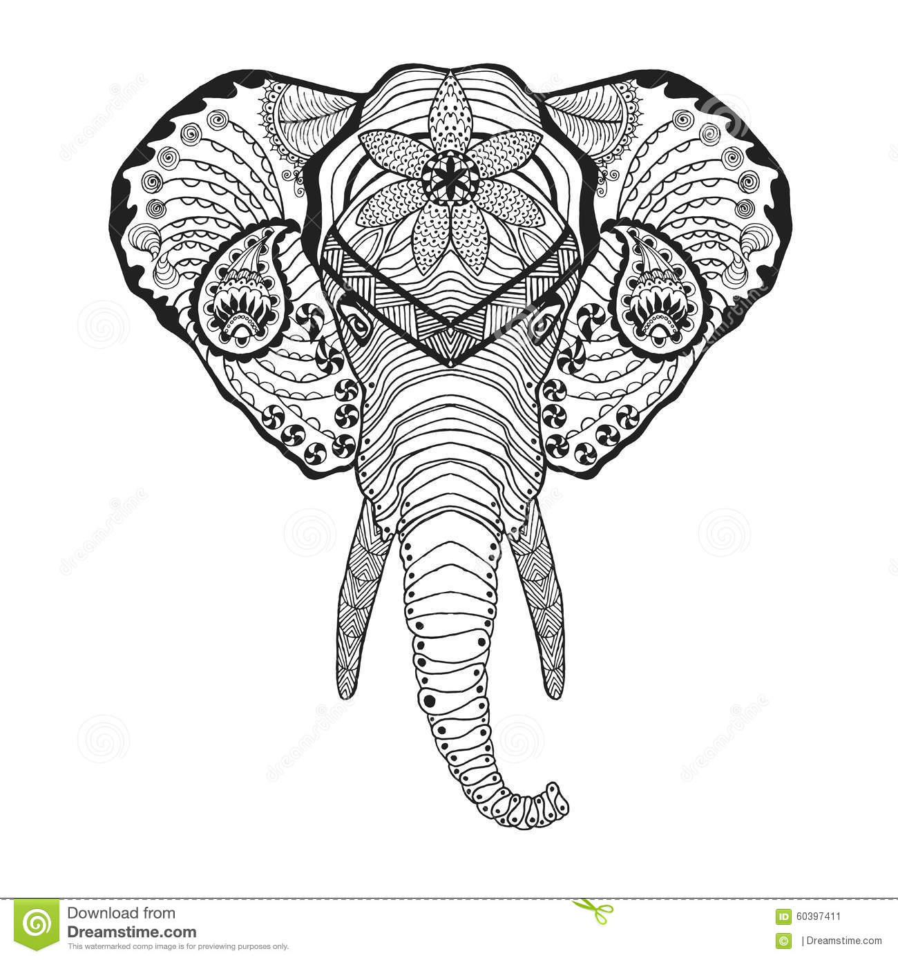zentangle stylized elphant head sketch for tattoo or t shirt stock